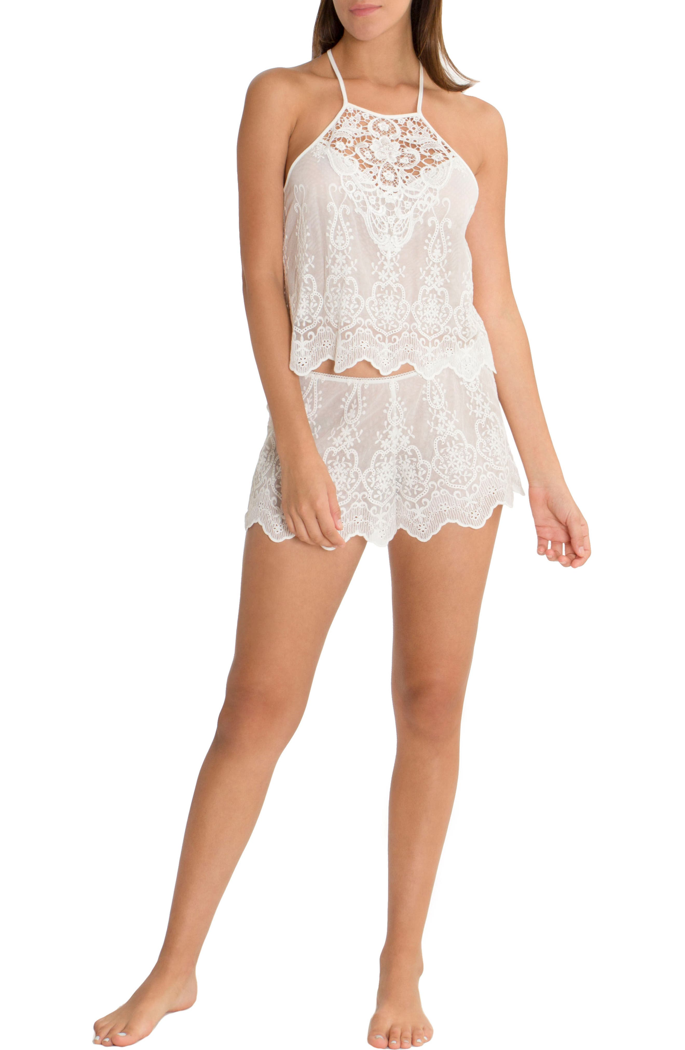 Embroidered Mesh Short Pajamas,                             Alternate thumbnail 4, color,                             Ivory