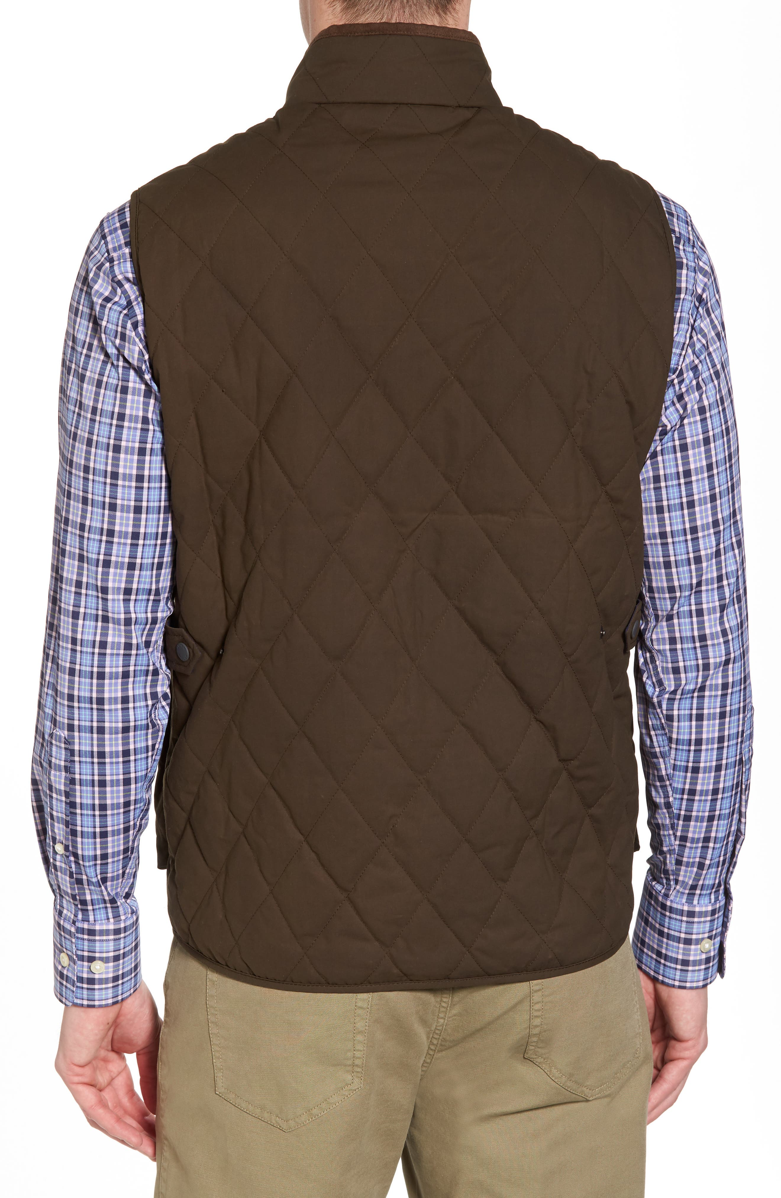 Keswick Waxed Cotton Quilted Vest,                             Alternate thumbnail 2, color,                             Dark Military