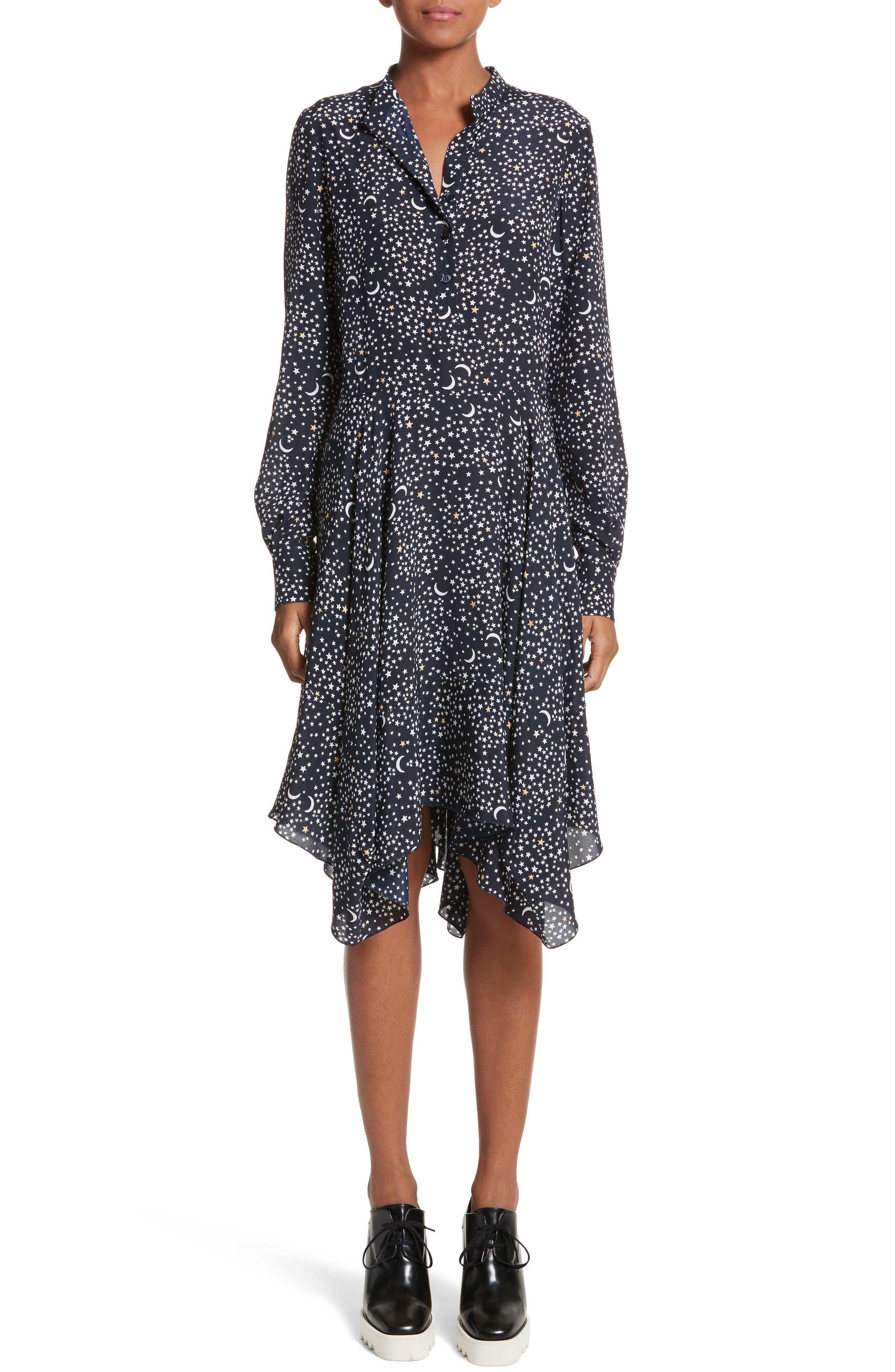 Moon Print Silk Dress,                         Main,                         color, Ink