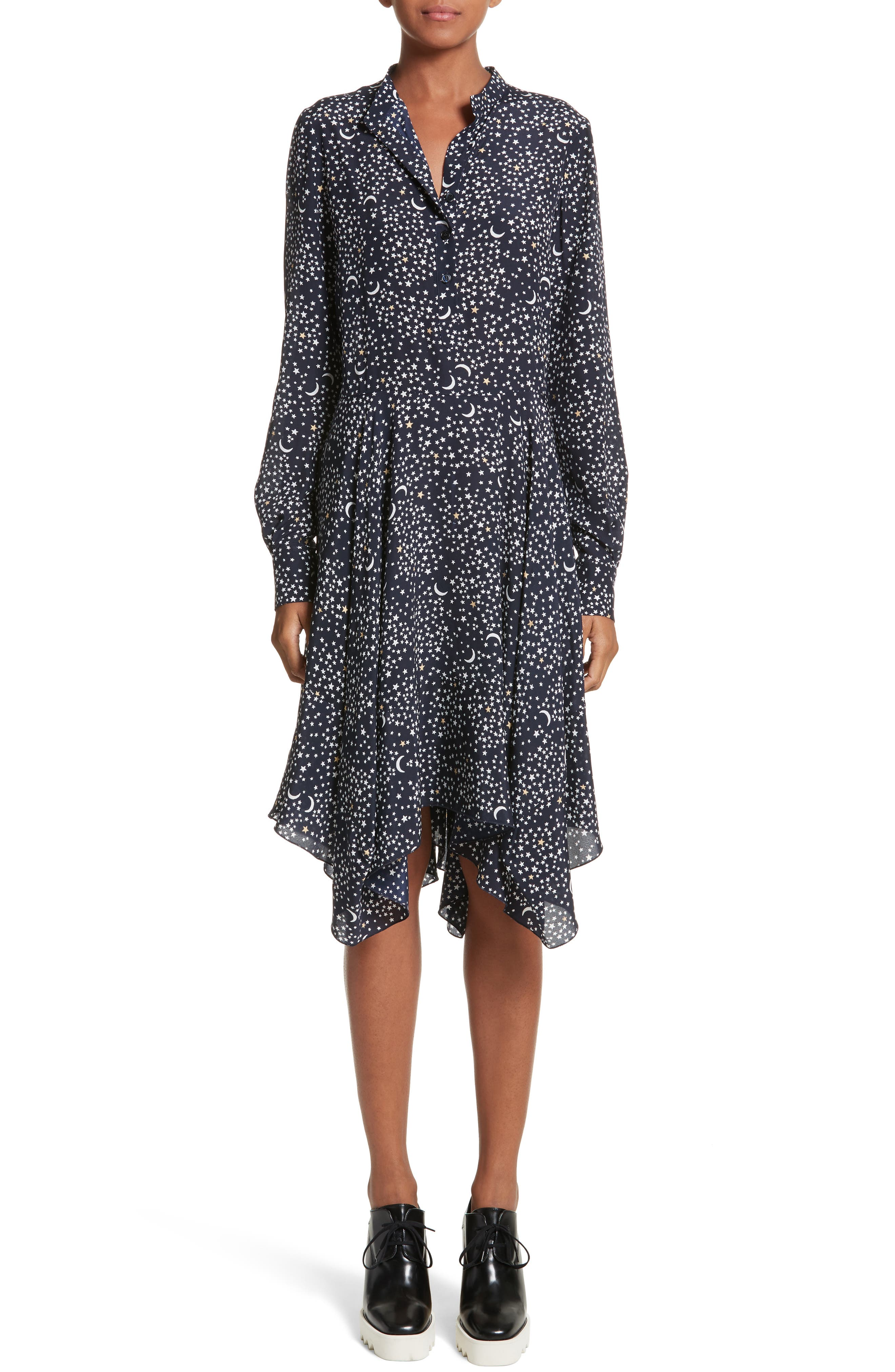 Stella McCartney Moon Print Silk Dress