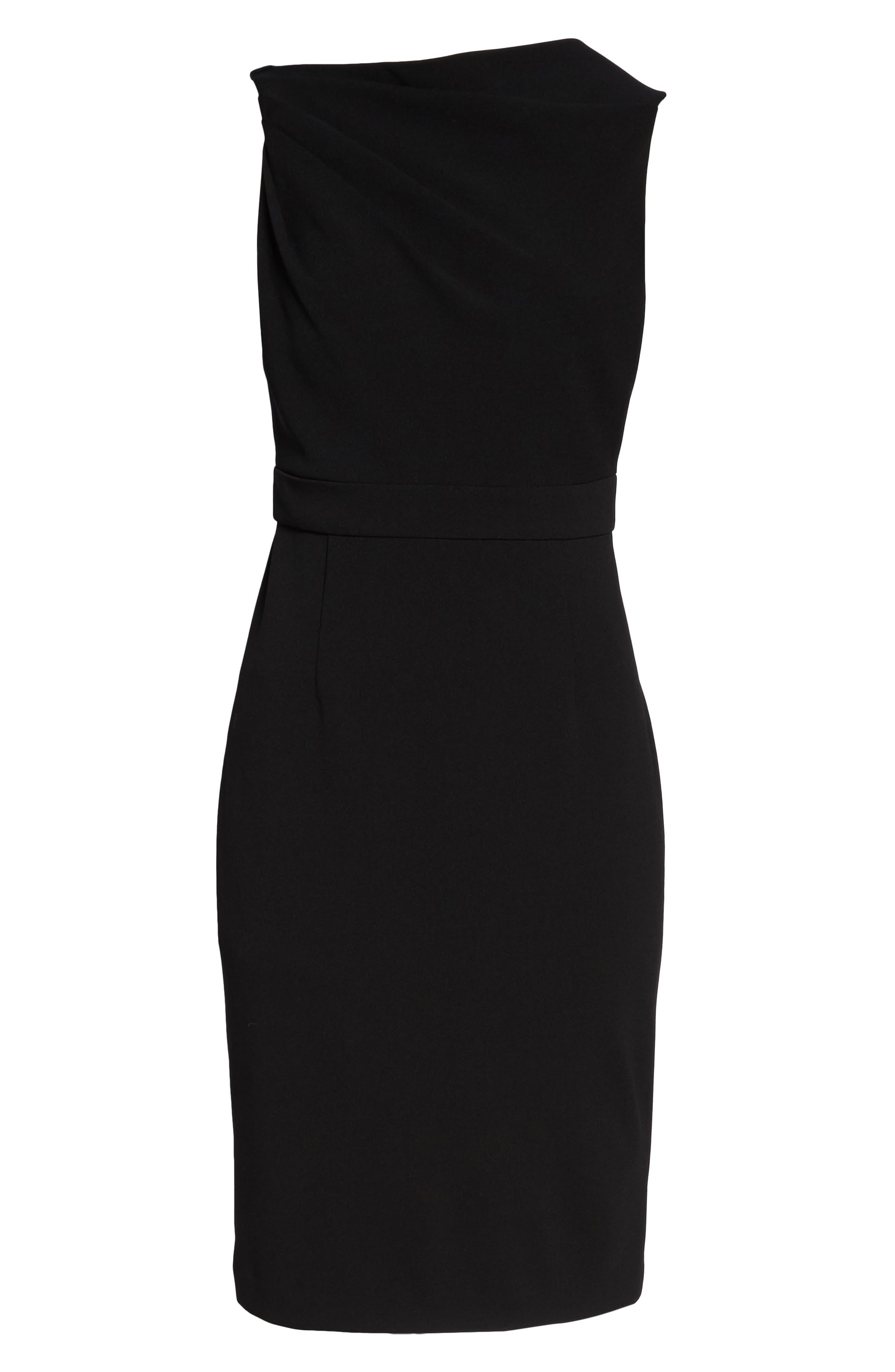 High Neck Sheath Dress,                             Alternate thumbnail 7, color,                             Black