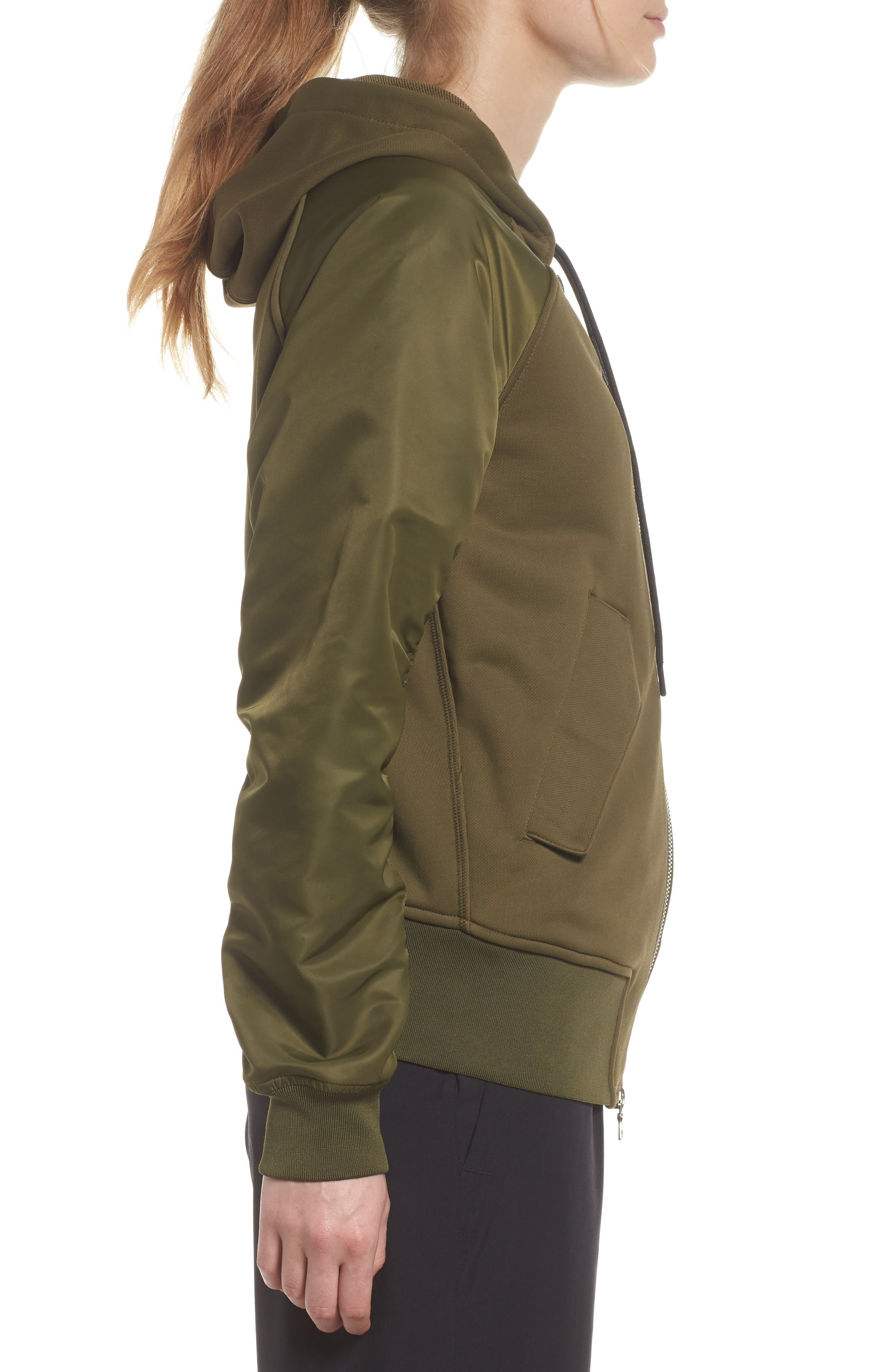 NikeLab Women's Mixed Media Bomber Jacket,                             Alternate thumbnail 3, color,                             Olive Canvas/ Black