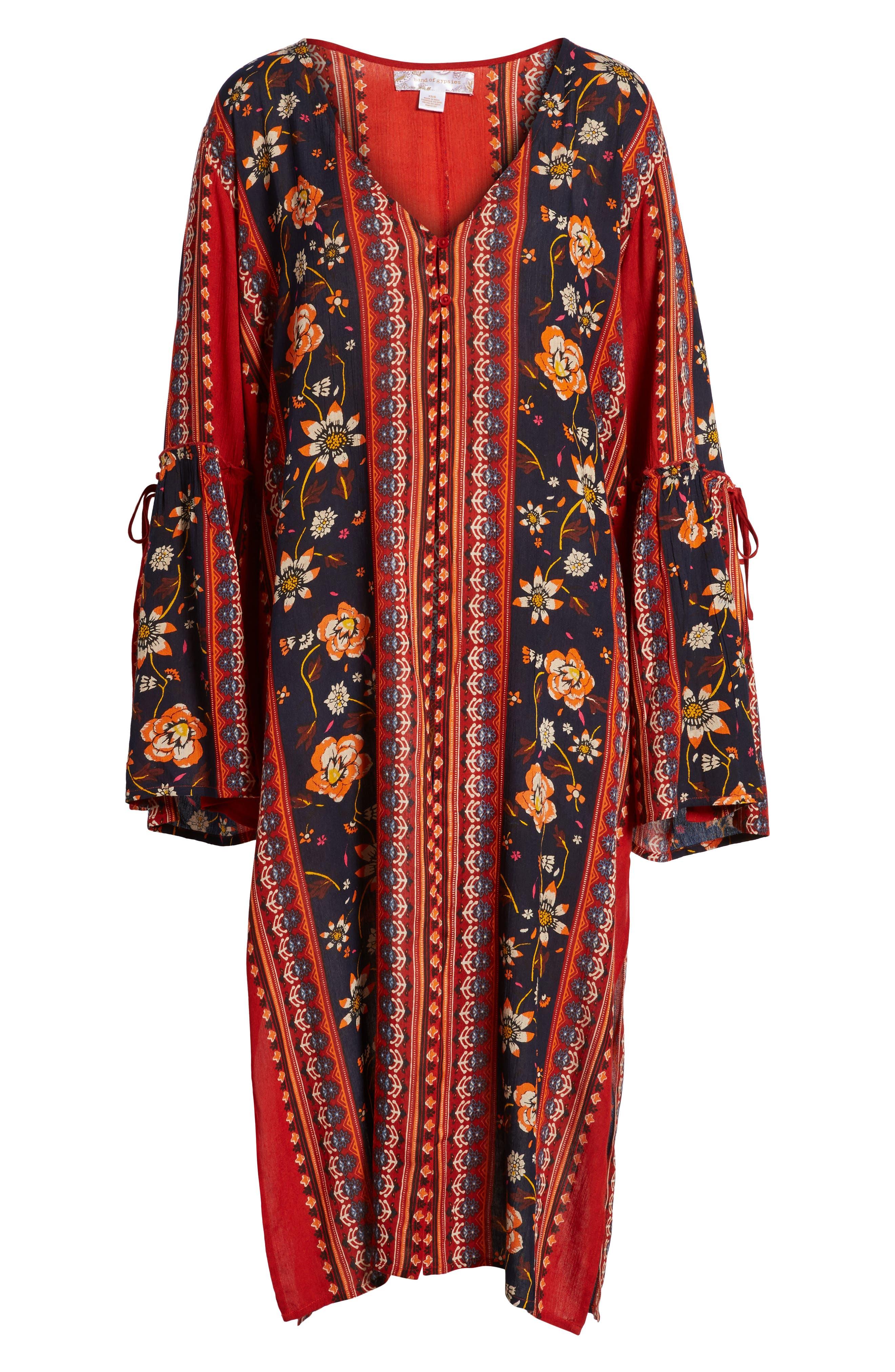 Bell Sleeve Kimono,                             Alternate thumbnail 6, color,                             Rust/ Navy