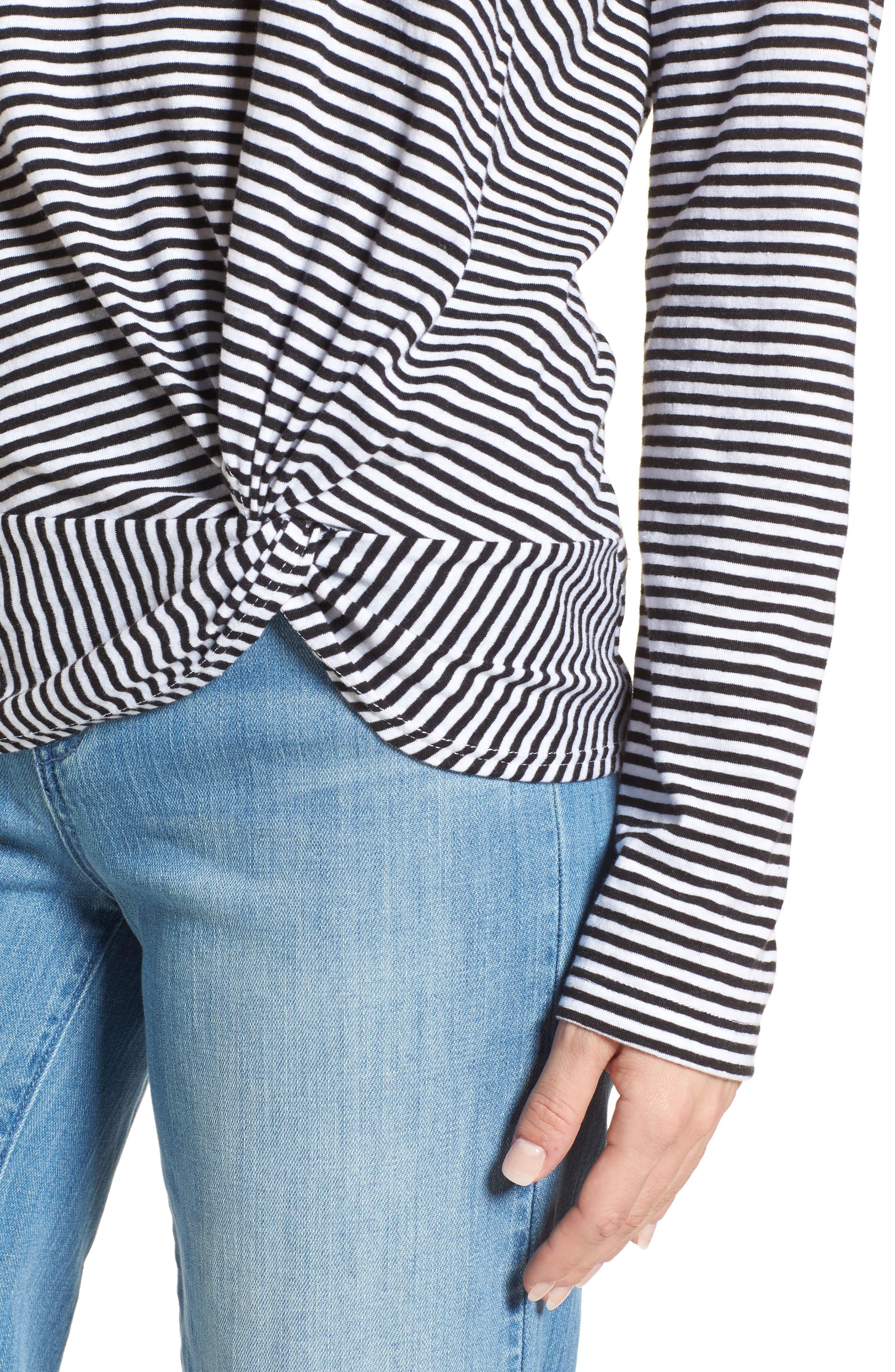 Long Sleeve Front Knot Tee,                             Alternate thumbnail 4, color,                             Black- White Even Stripe