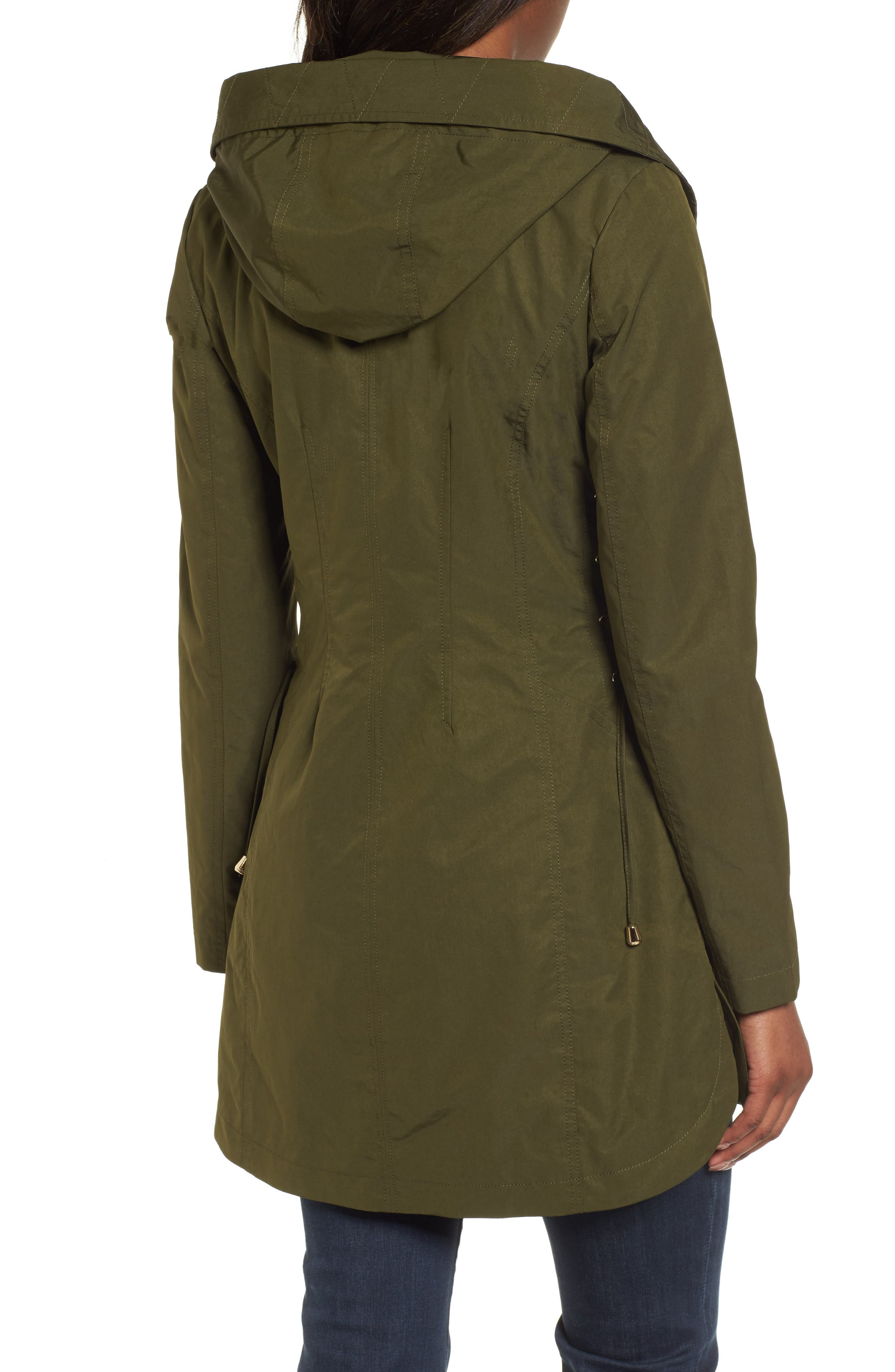Side Lace-Up Hooded Trench Coat,                             Alternate thumbnail 2, color,                             Olive