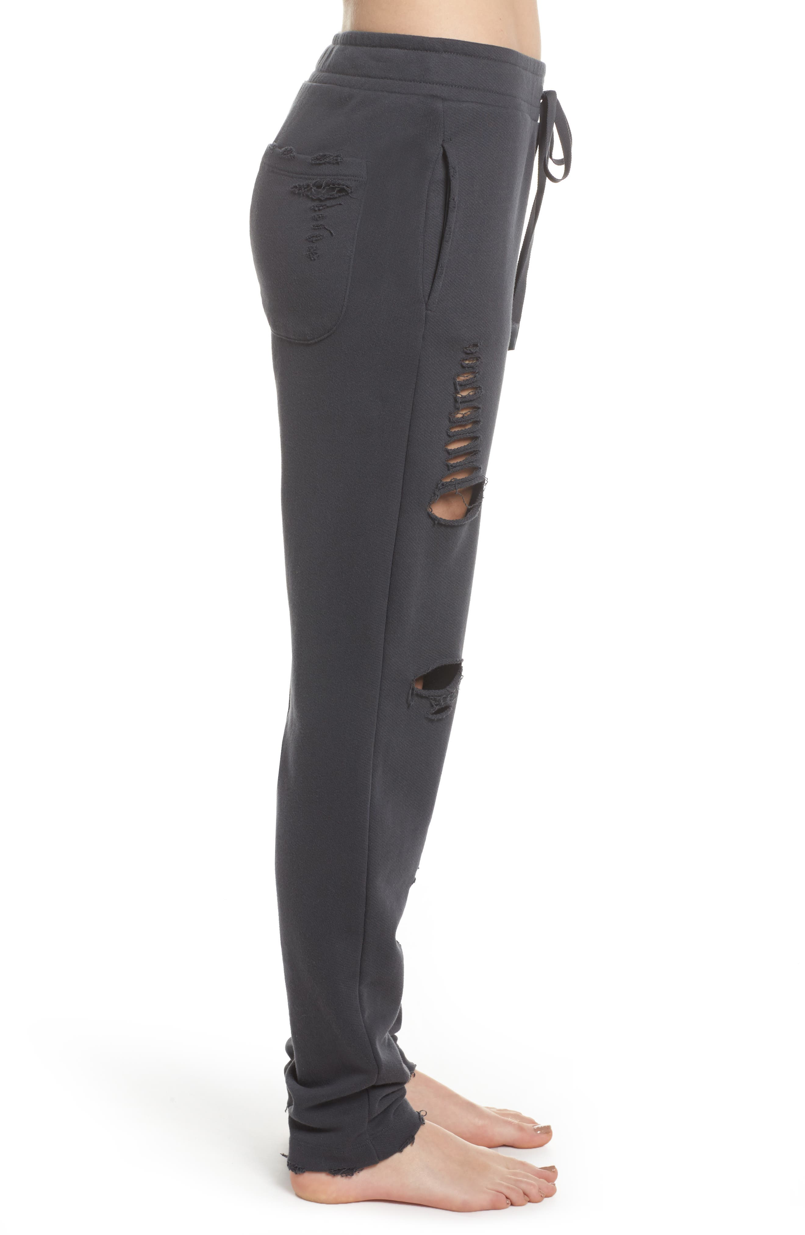 Ripped Sweatpants,                             Alternate thumbnail 3, color,                             Anthracite