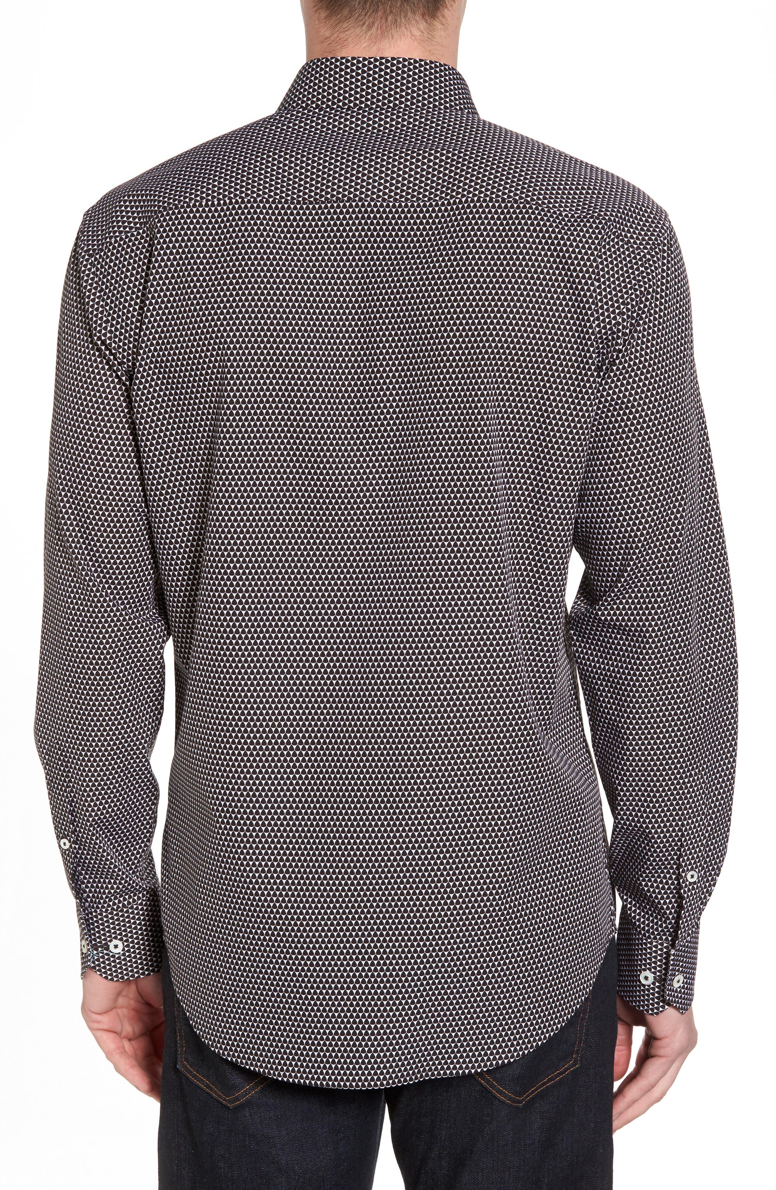 Slim Fit Geo Print Sport Shirt,                             Alternate thumbnail 2, color,                             Black