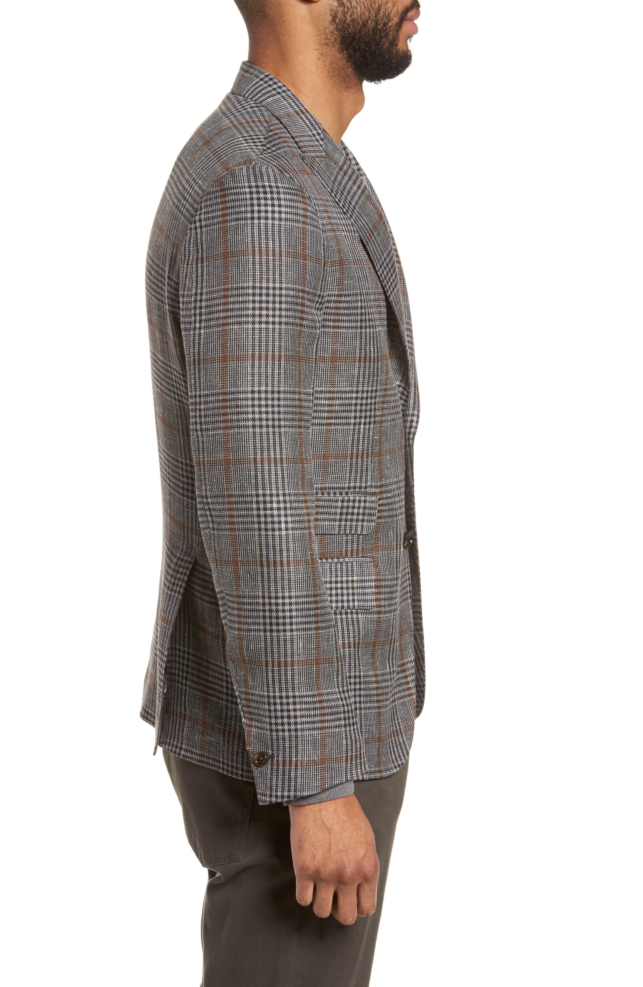 Trim Fit Plaid Linen Blend Sport Coat,                             Alternate thumbnail 3, color,                             Light Grey