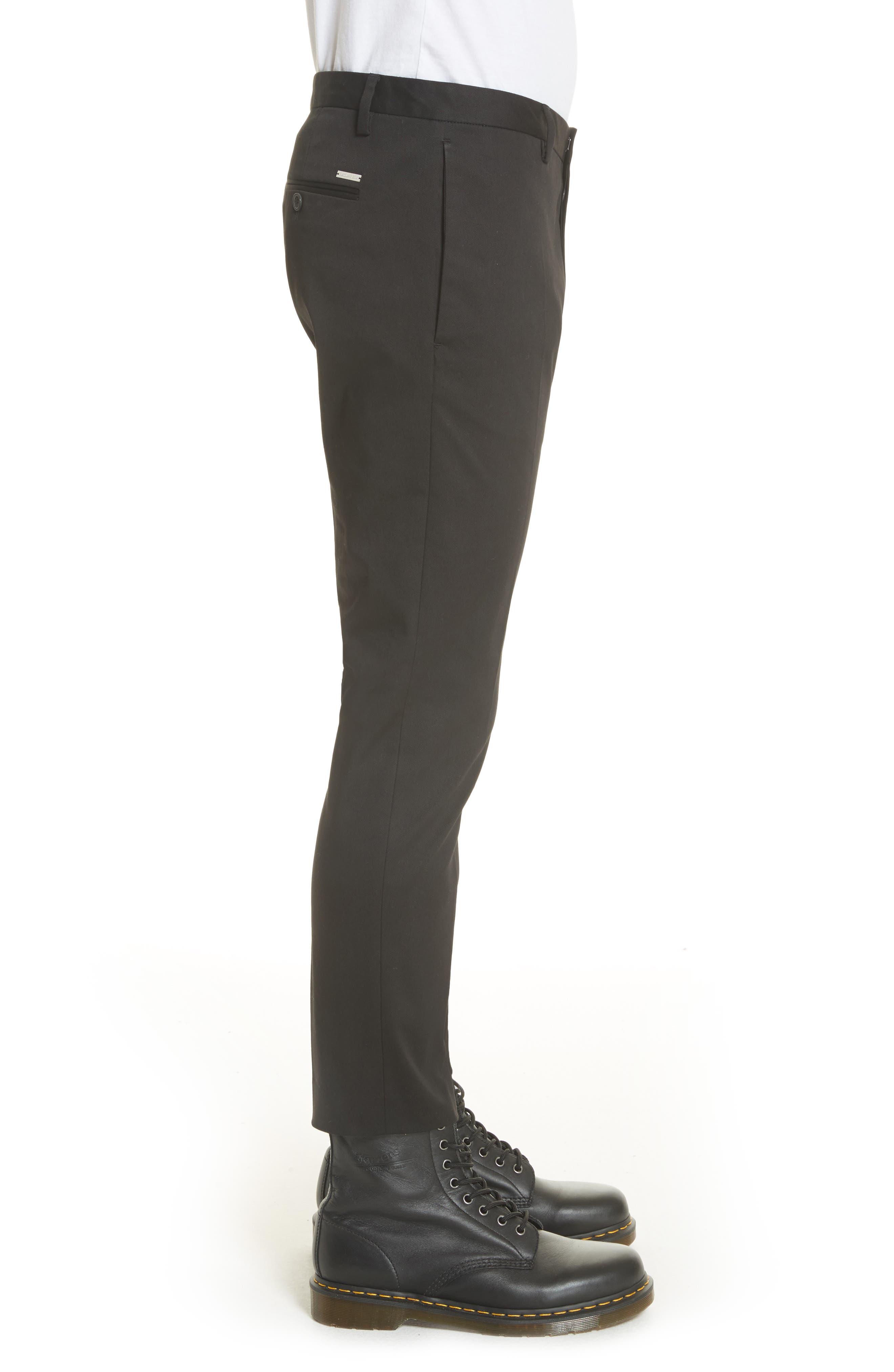 Dan Skinny Fit Cropped Trousers,                             Alternate thumbnail 3, color,                             Black