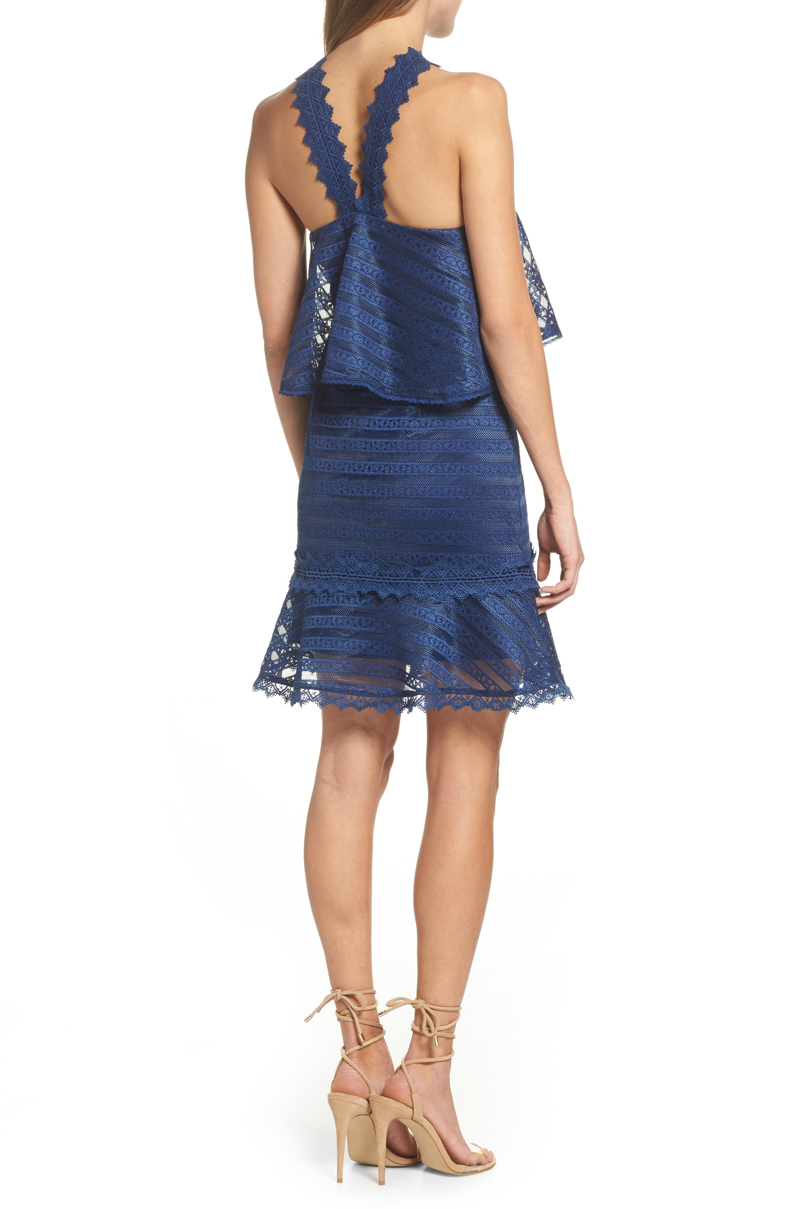 Lucy Ruffle Halter Dress,                             Alternate thumbnail 2, color,                             Navy
