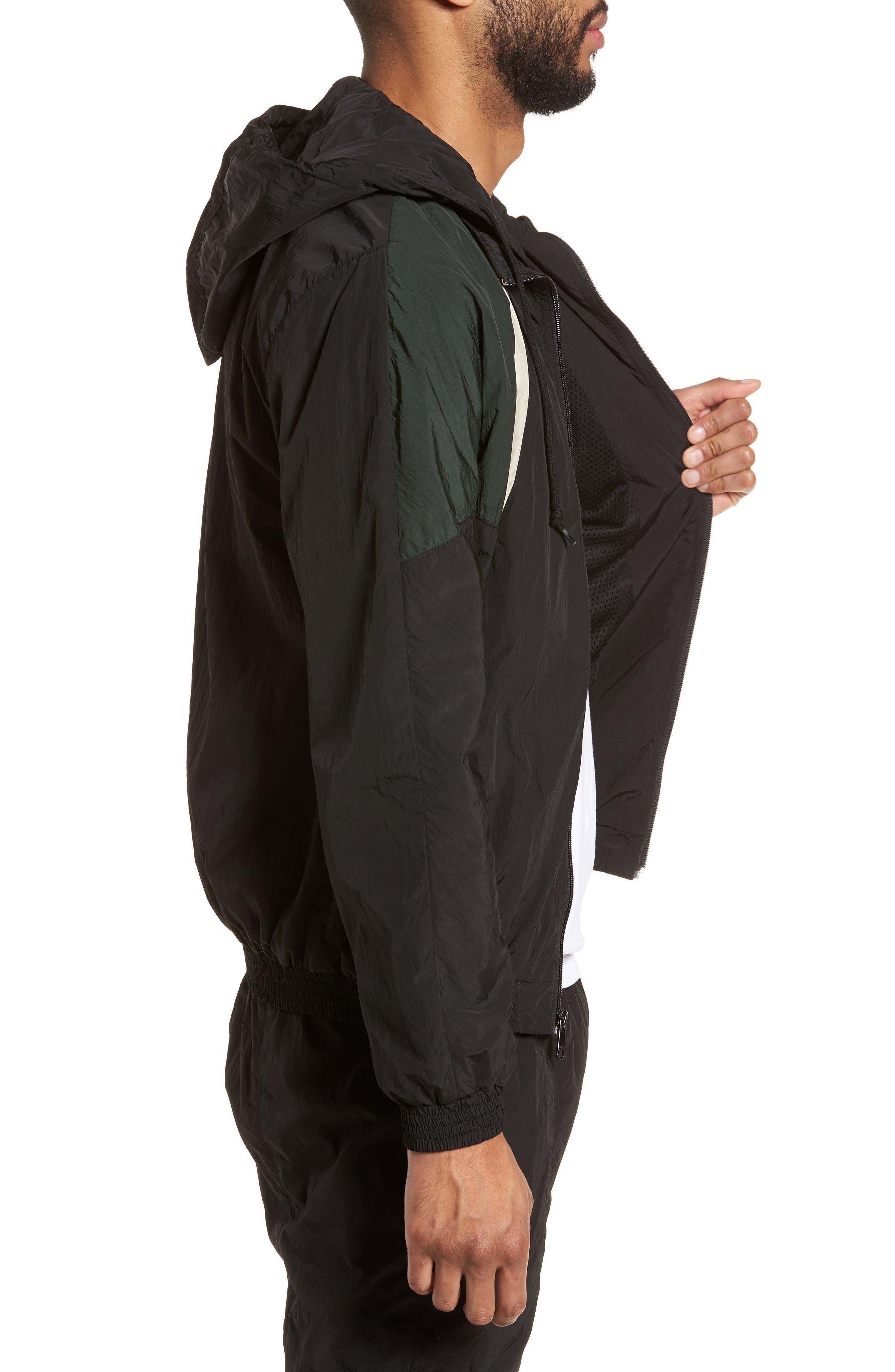 Hooded Shell Jacket,                             Alternate thumbnail 3, color,                             Black/ Deep Forest
