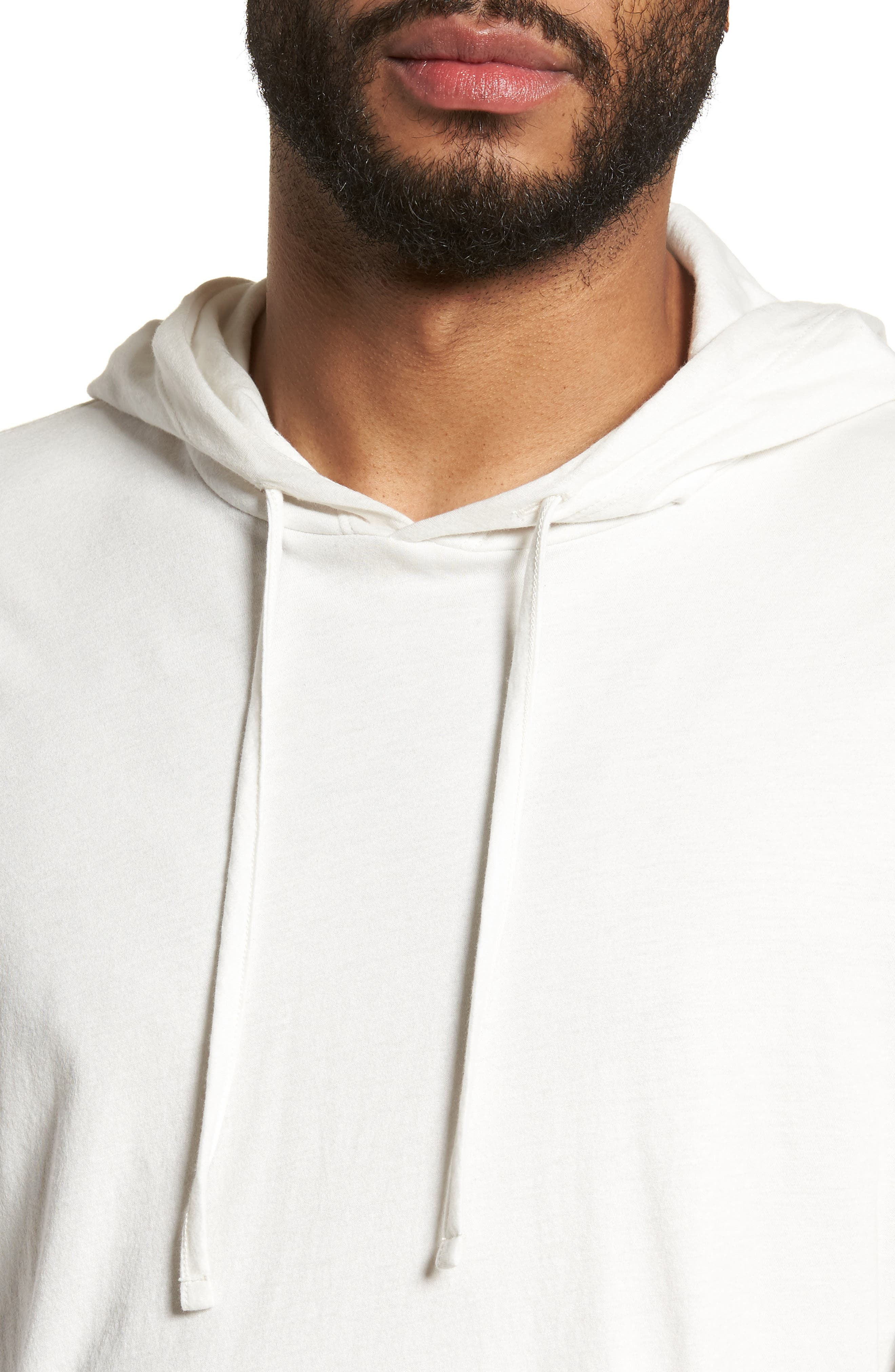 Layered Long Sleeve Pullover Hoodie,                             Alternate thumbnail 4, color,                             Optic White