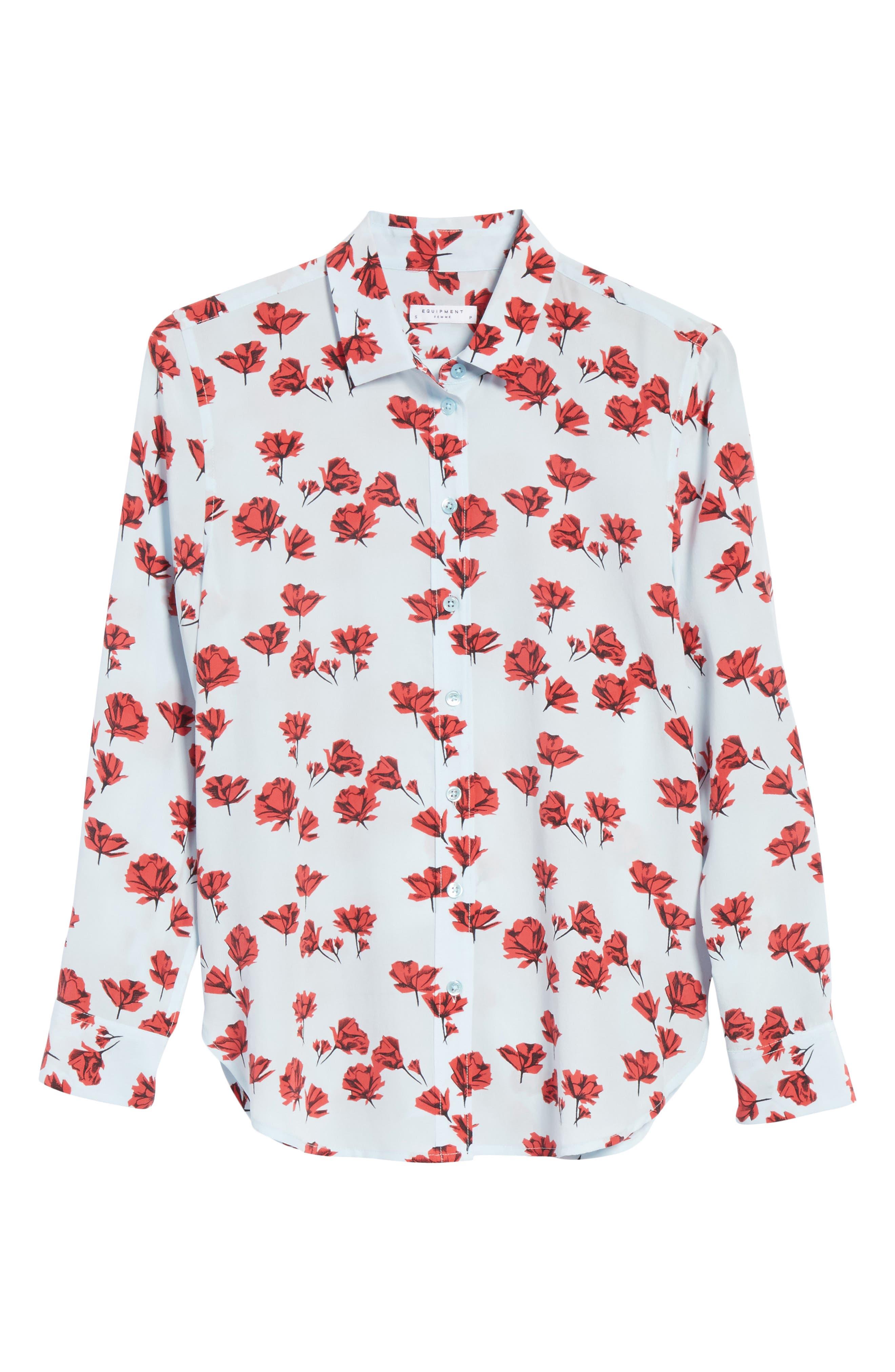 Leema Floral Silk Shirt,                             Alternate thumbnail 6, color,                             Cool Breeze