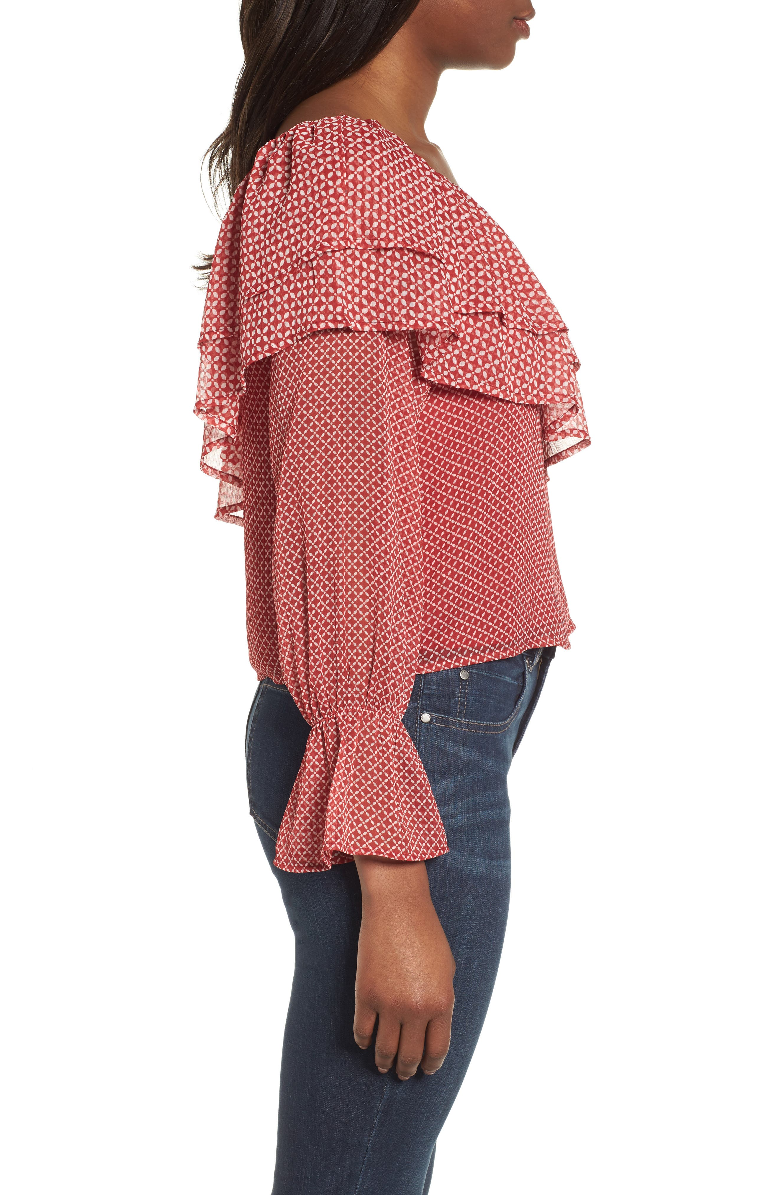 One-Shoulder Printed Top,                             Alternate thumbnail 3, color,                             Red Multi
