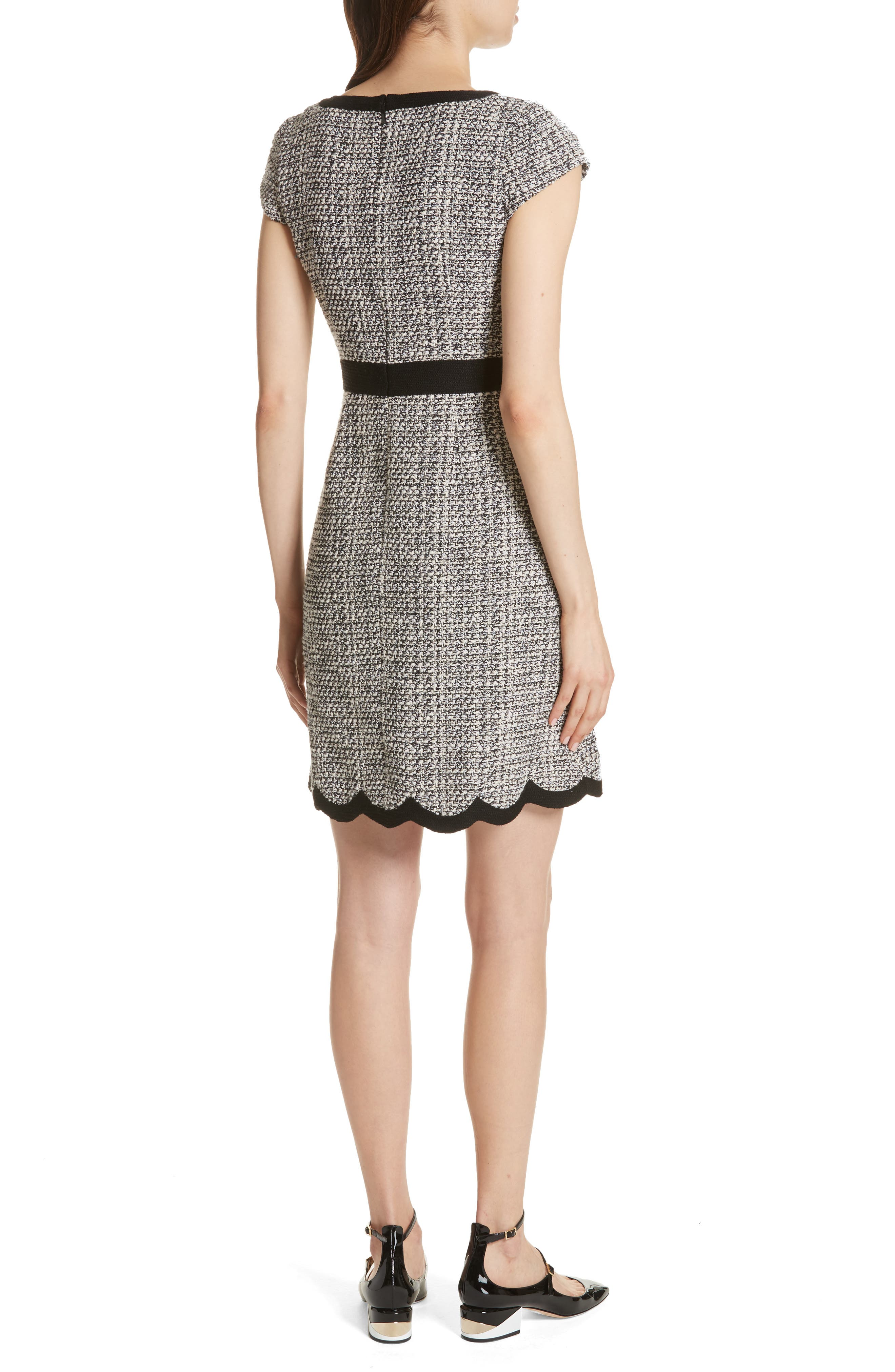 scallop tweed dress,                             Alternate thumbnail 2, color,                             Black/ Cream