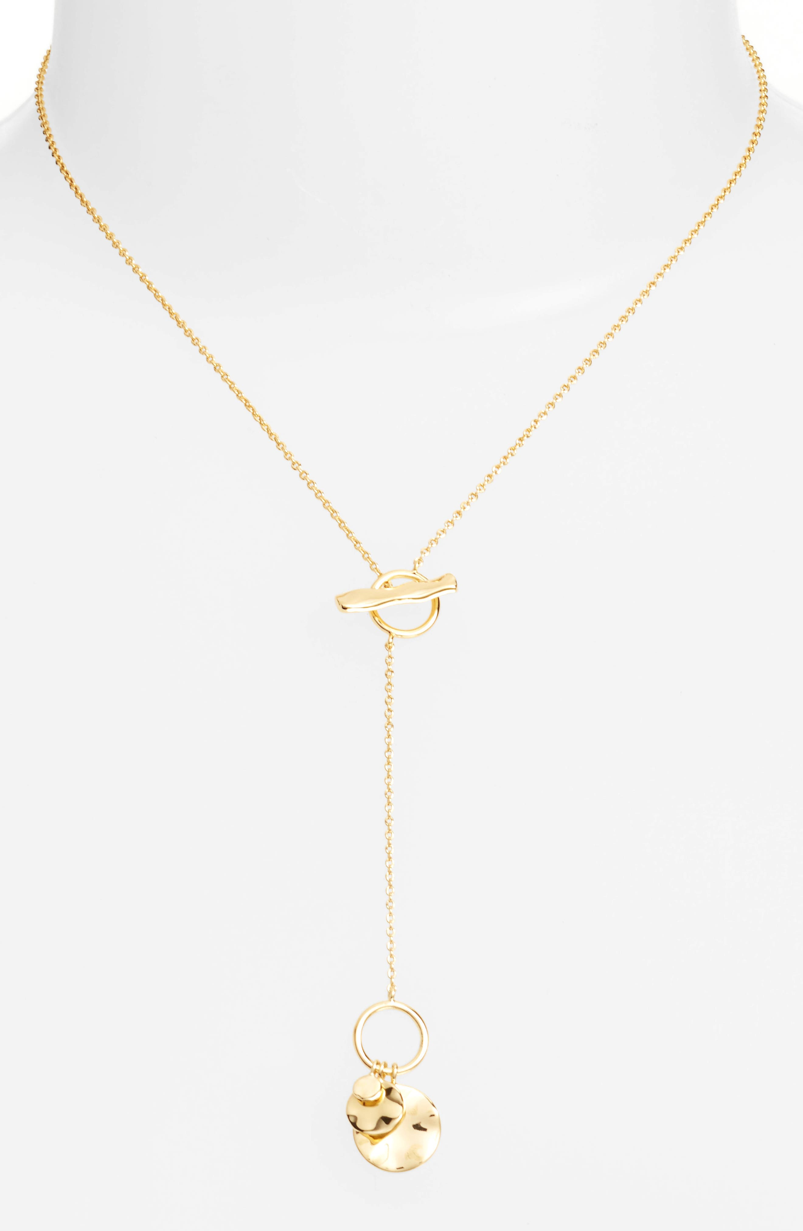 Chloe Small Hammered Disc Toggle Necklace,                         Main,                         color, Gold