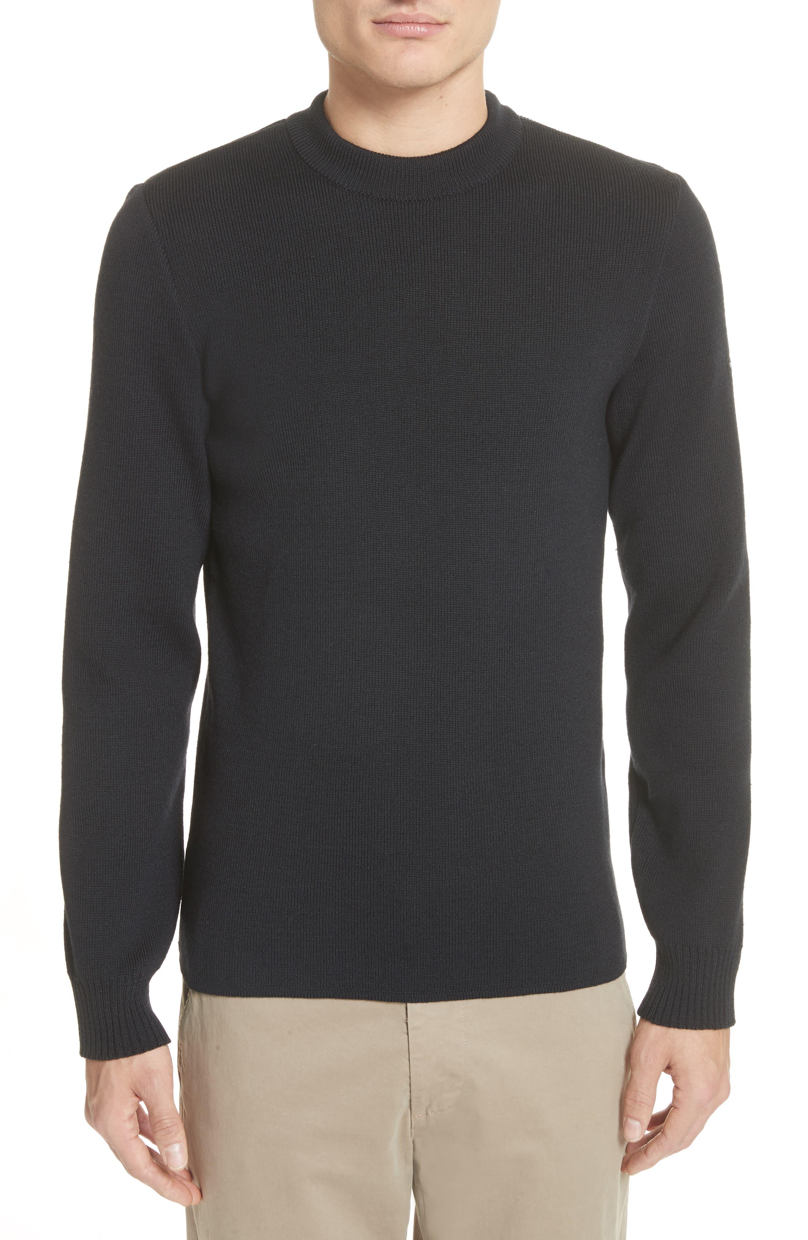 Men's Water Repellent Crewneck Sweater,                         Main,                         color, Navy