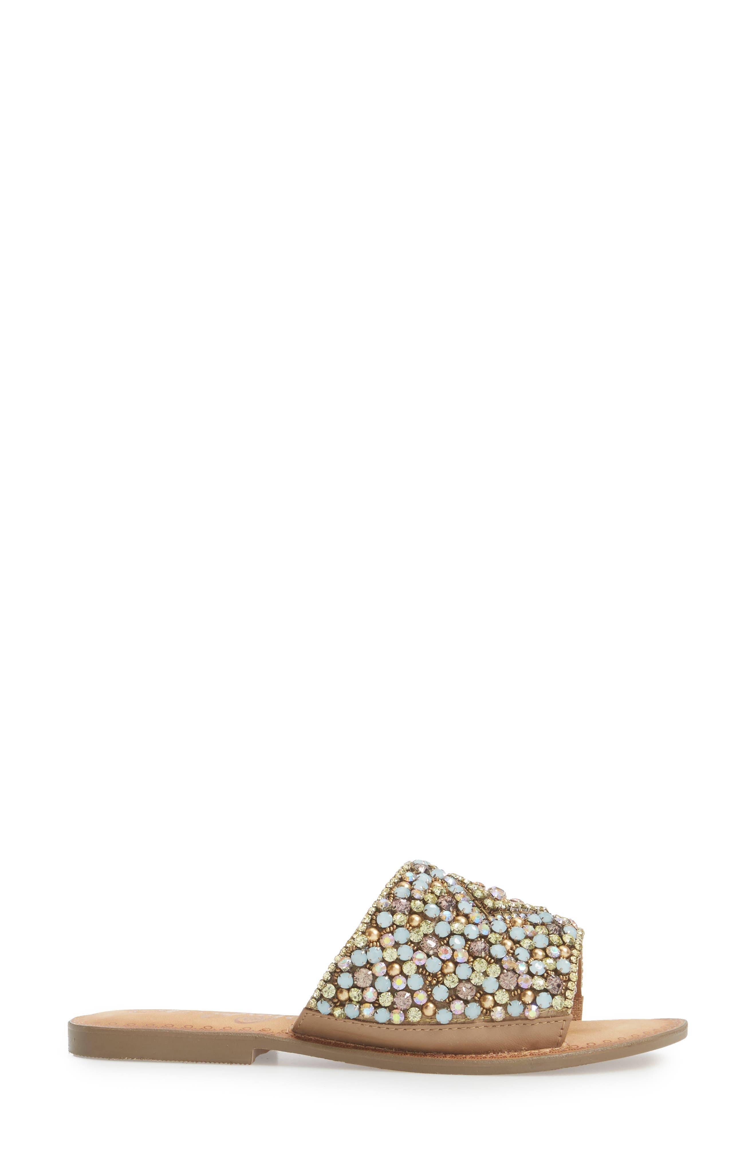Susanna Embellished Slide Sandal,                             Alternate thumbnail 3, color,                             Multi Leather