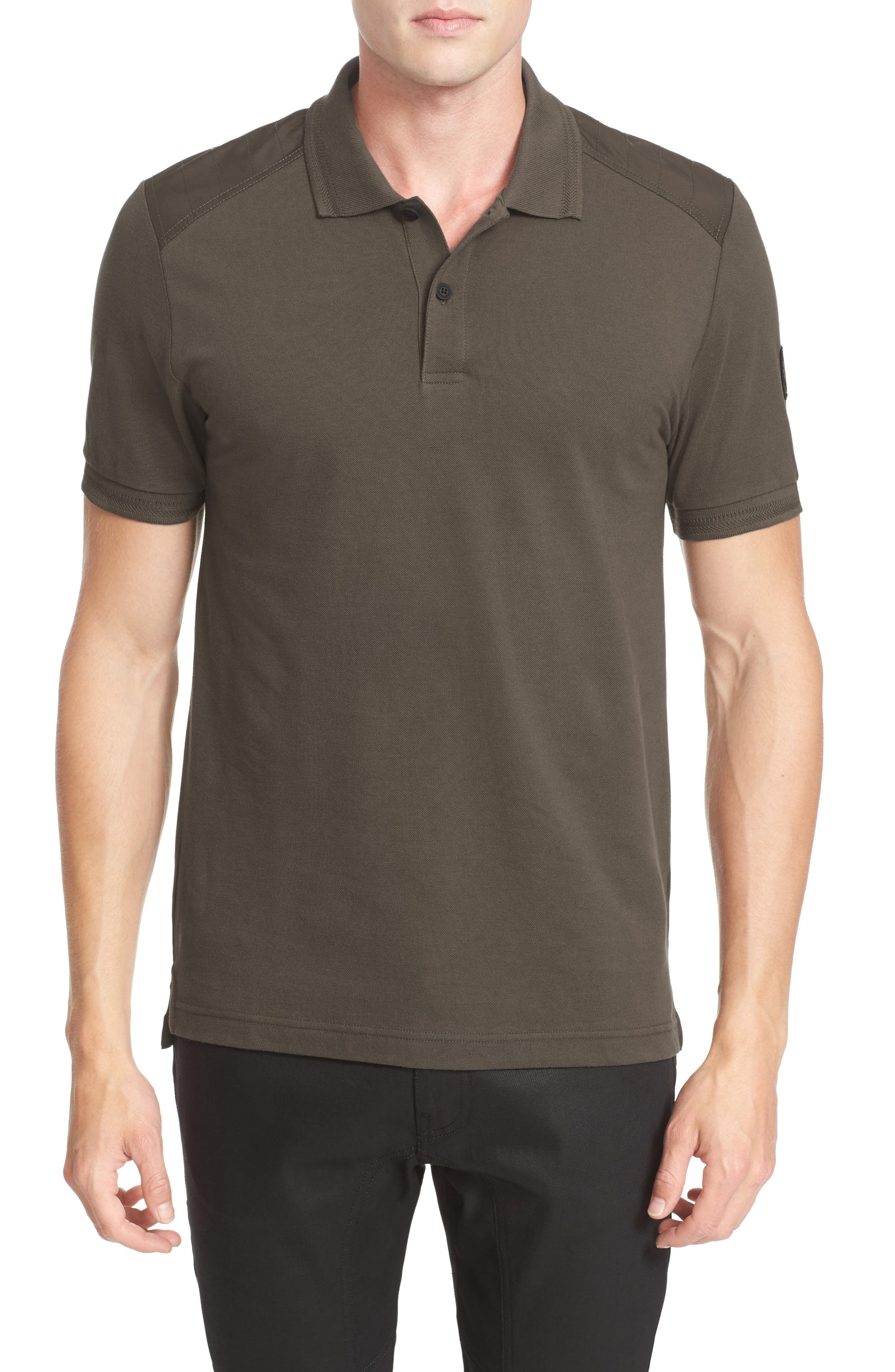 HItchin Extra Trim Fit Piqué Polo,                         Main,                         color, Dark Military Green