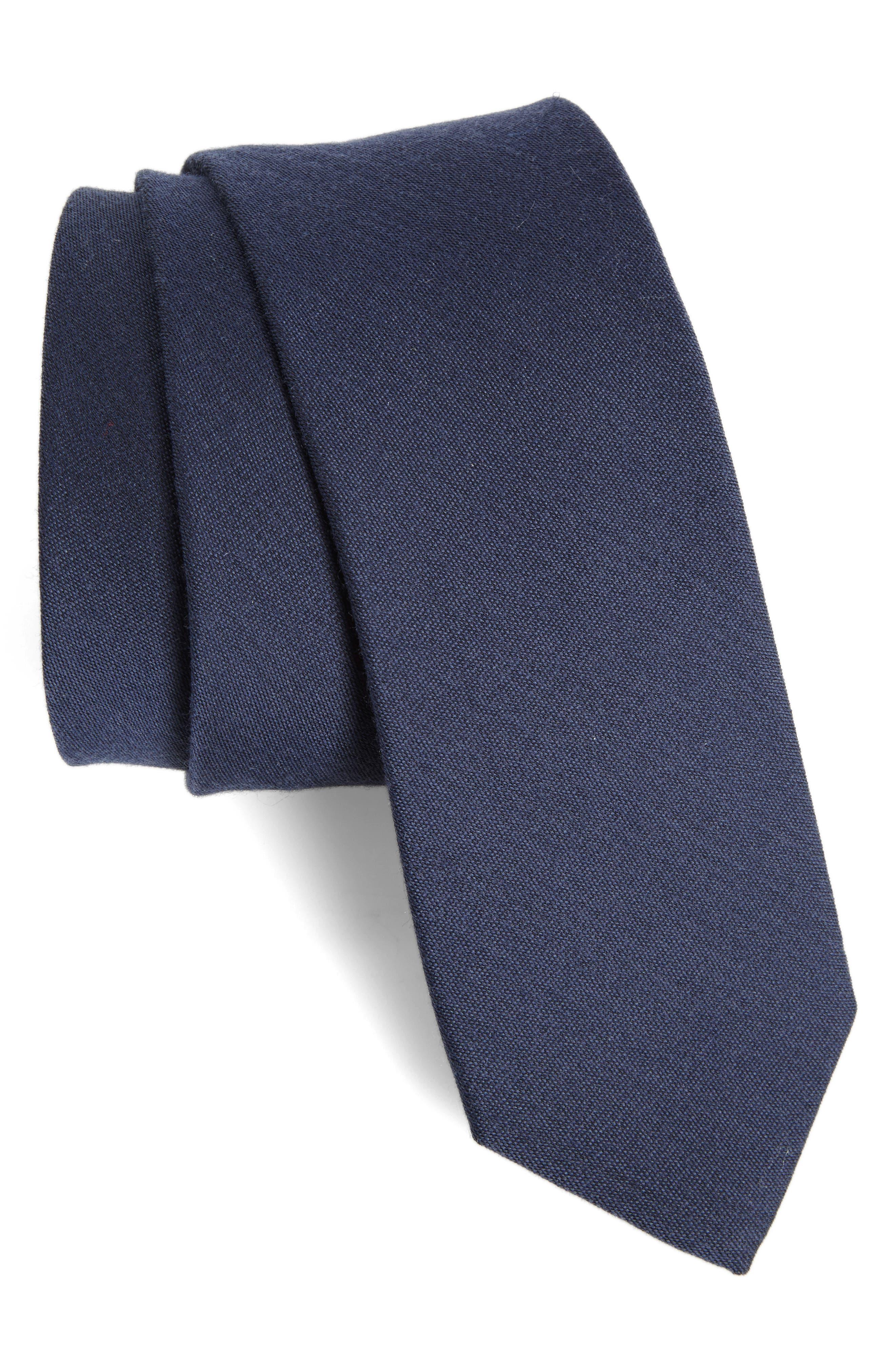 Main Image - The Tie Bar Solid Wool Blend Skinny Tie