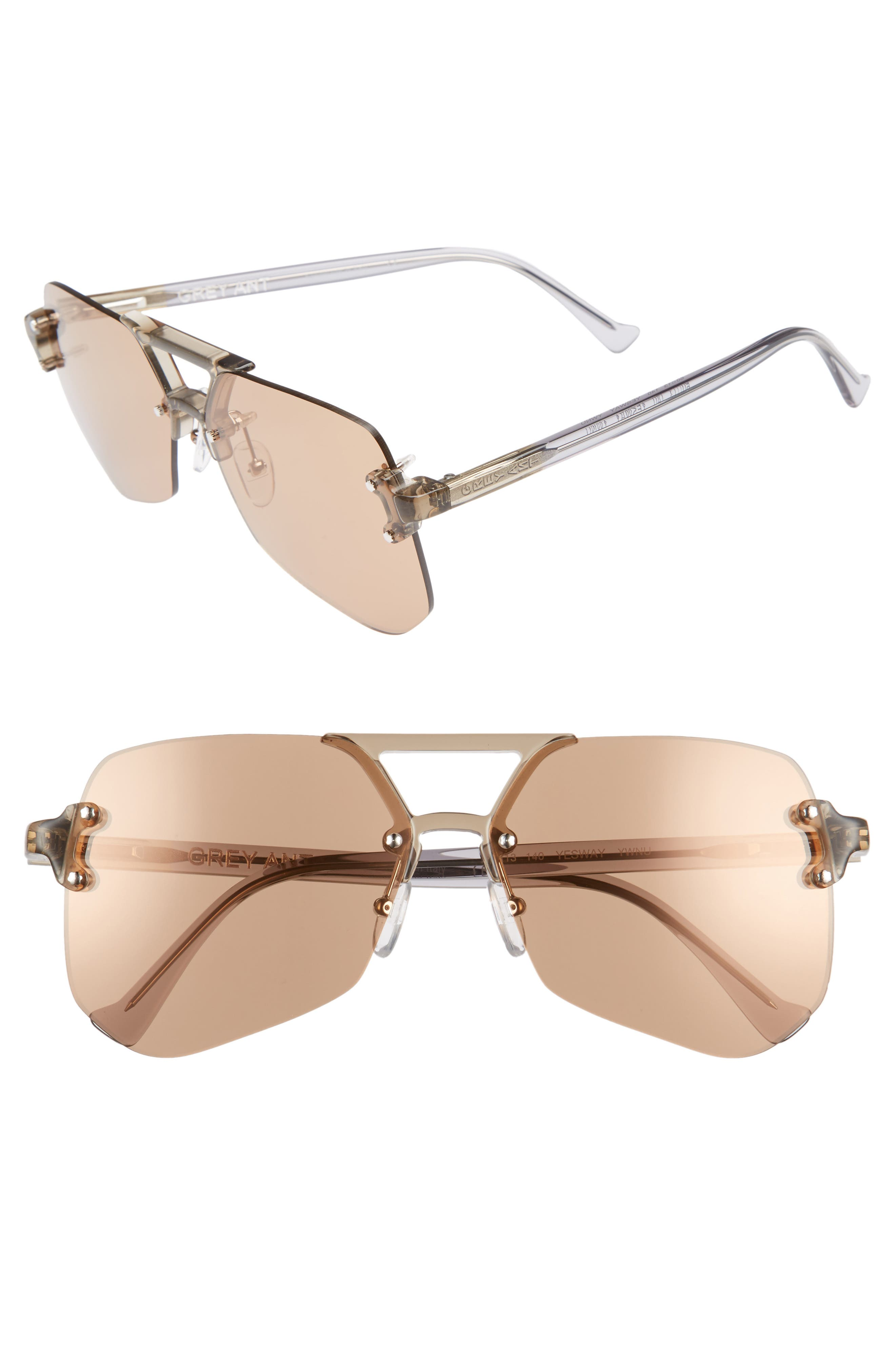 YESWAY 60MM SUNGLASSES - TAN LENS/ SILVER HARDWARE