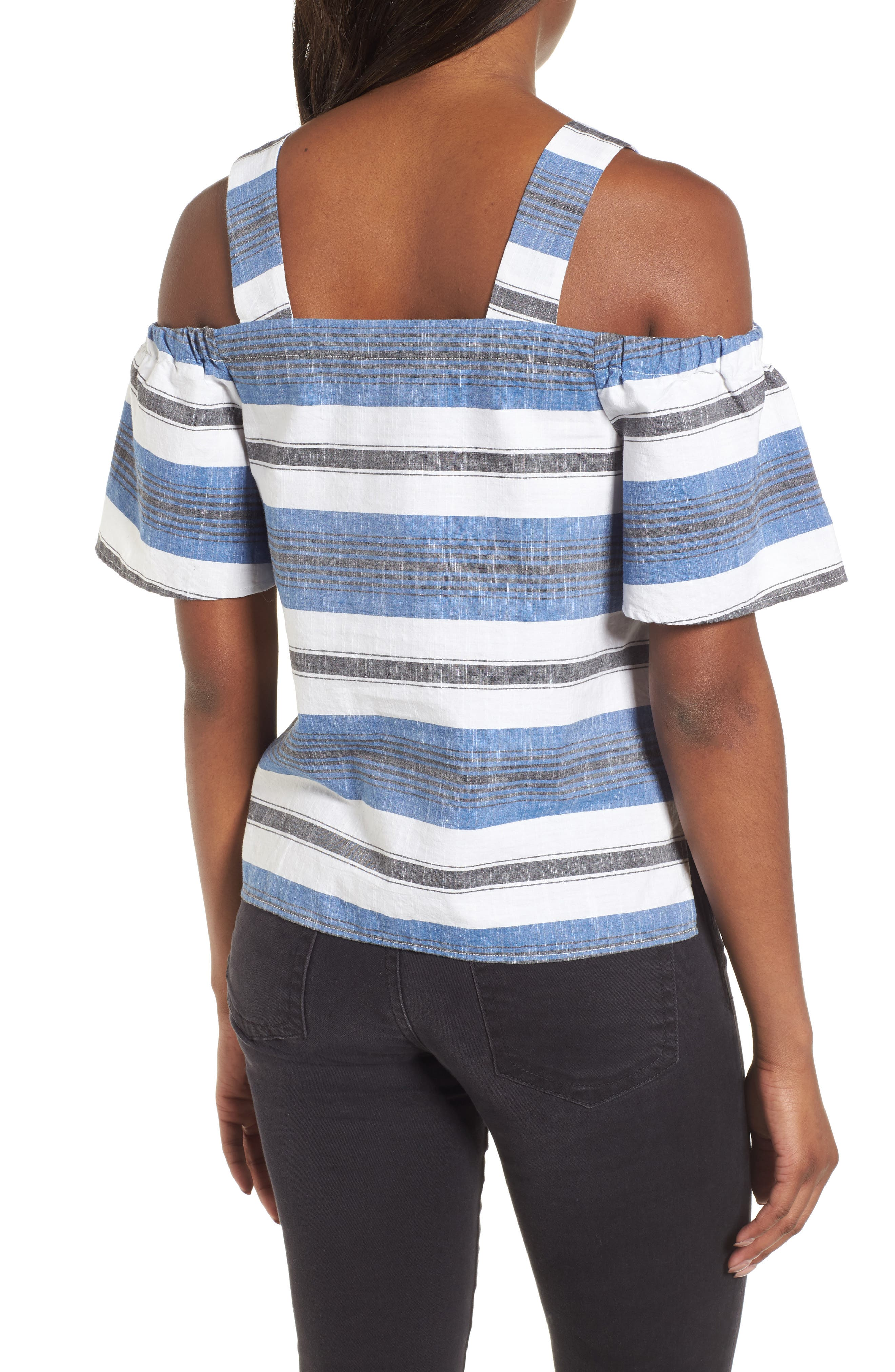 Stripe Cold Shoulder Top,                             Alternate thumbnail 2, color,                             Blue Multi