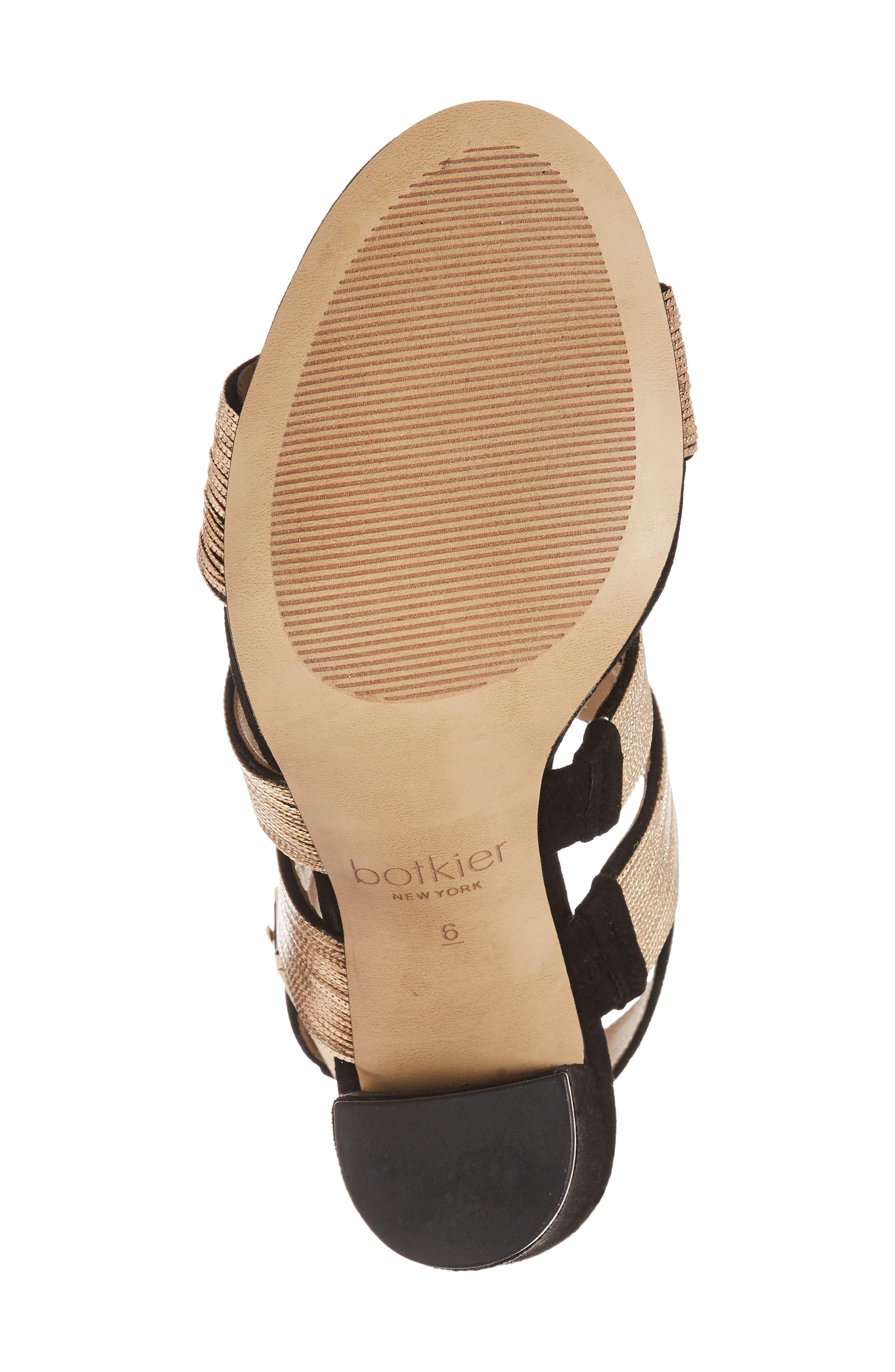 Genesa Chain Slingback Sandal,                             Alternate thumbnail 6, color,                             Black/ Gold Suede