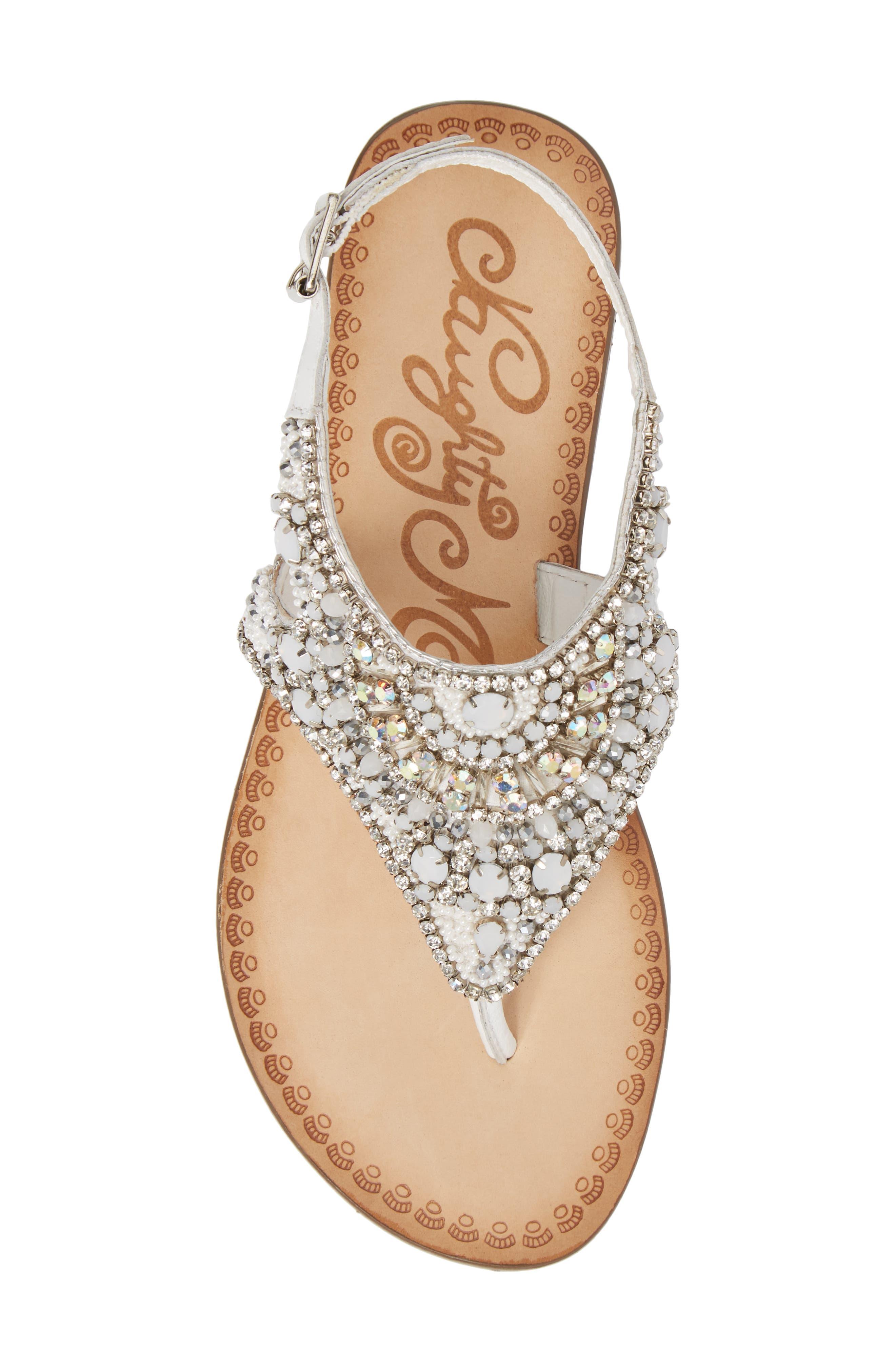 Iceberg Crystal Embellished Sandal,                             Alternate thumbnail 5, color,                             White Leather