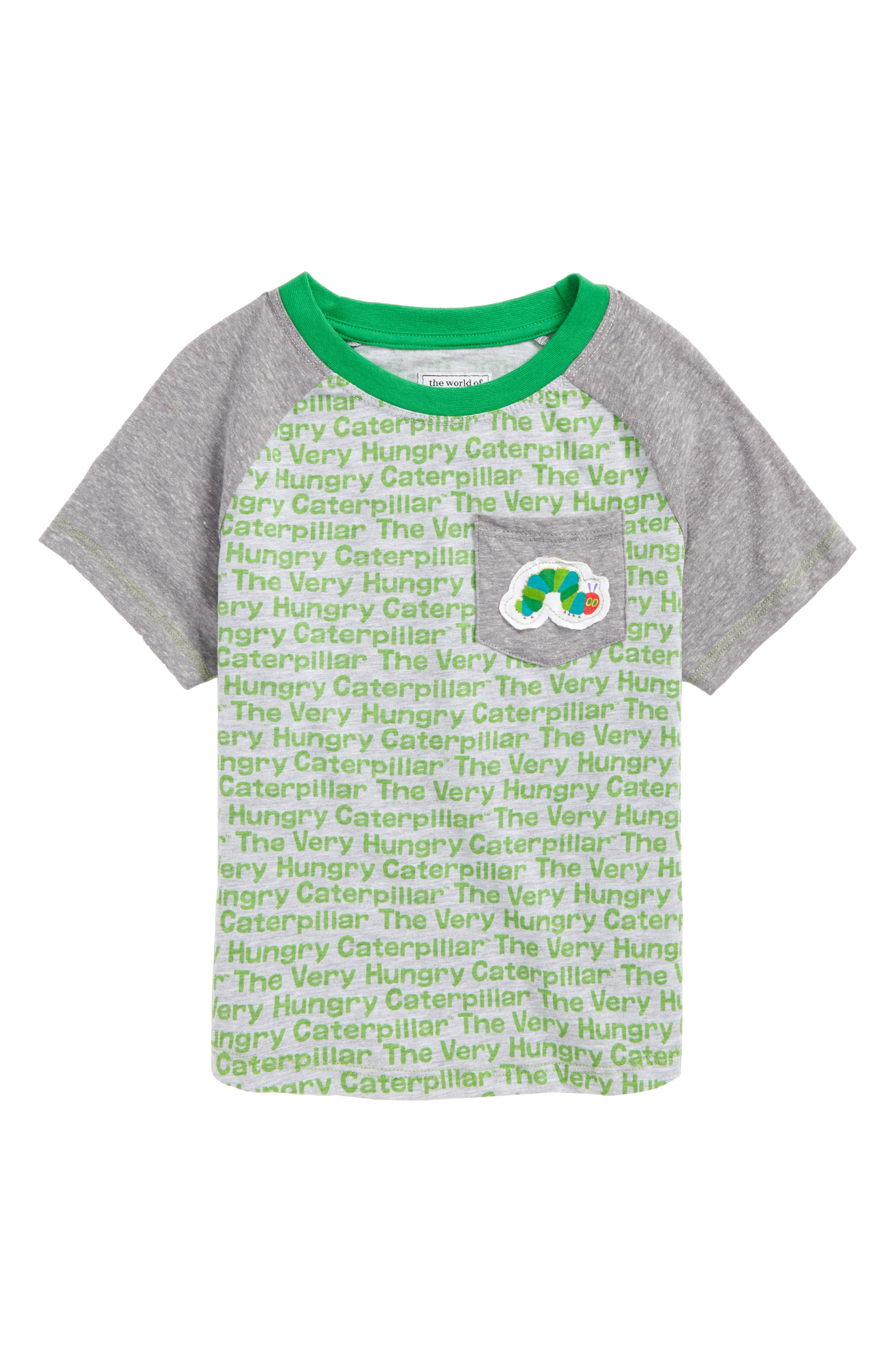 Hungry Caterpillar Print Raglan T-Shirt,                             Main thumbnail 1, color,                             Heather Grey