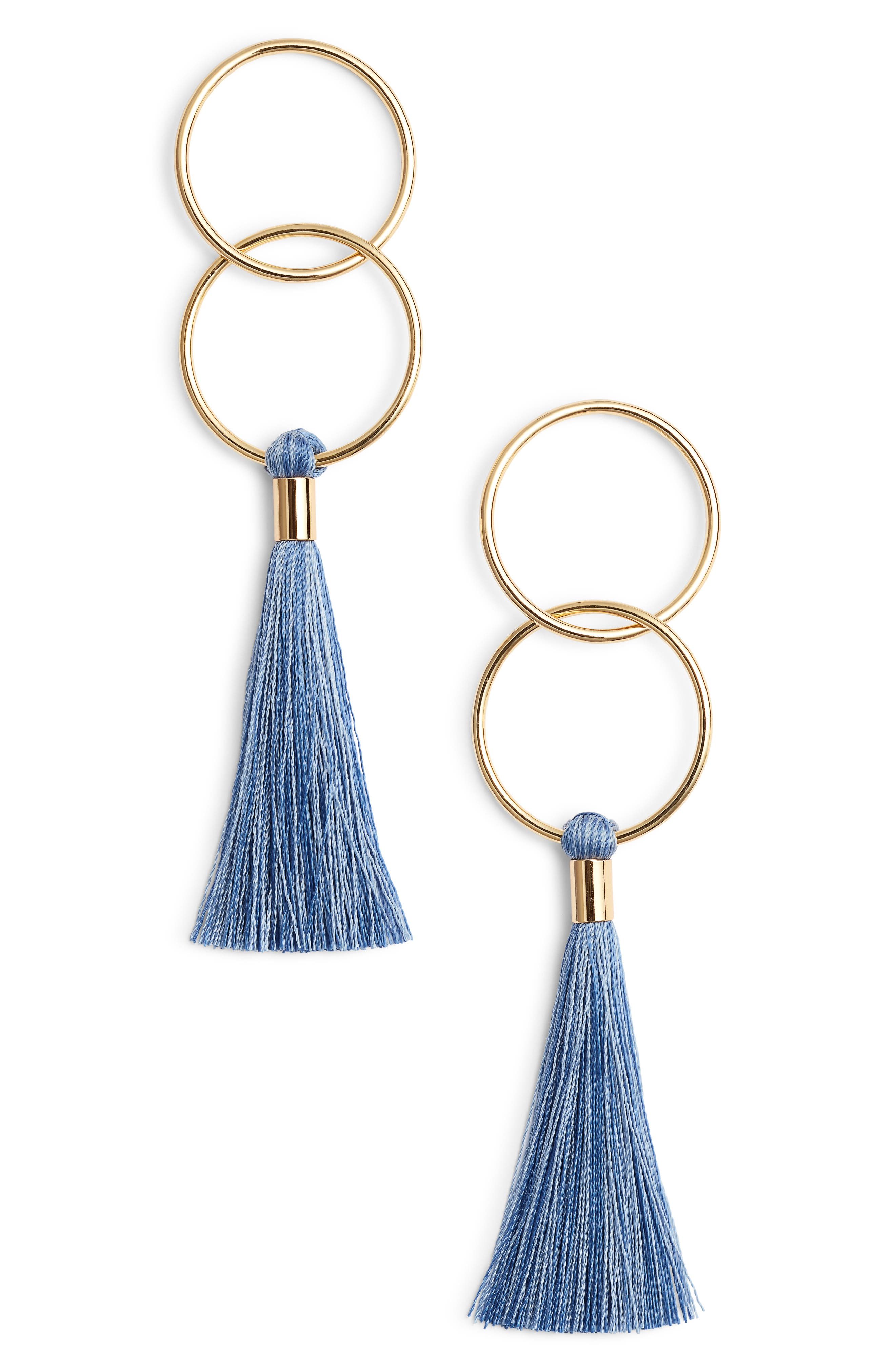 Carmen Tassel Earrings,                             Main thumbnail 1, color,                             Mixed Powder Blue/ Gold