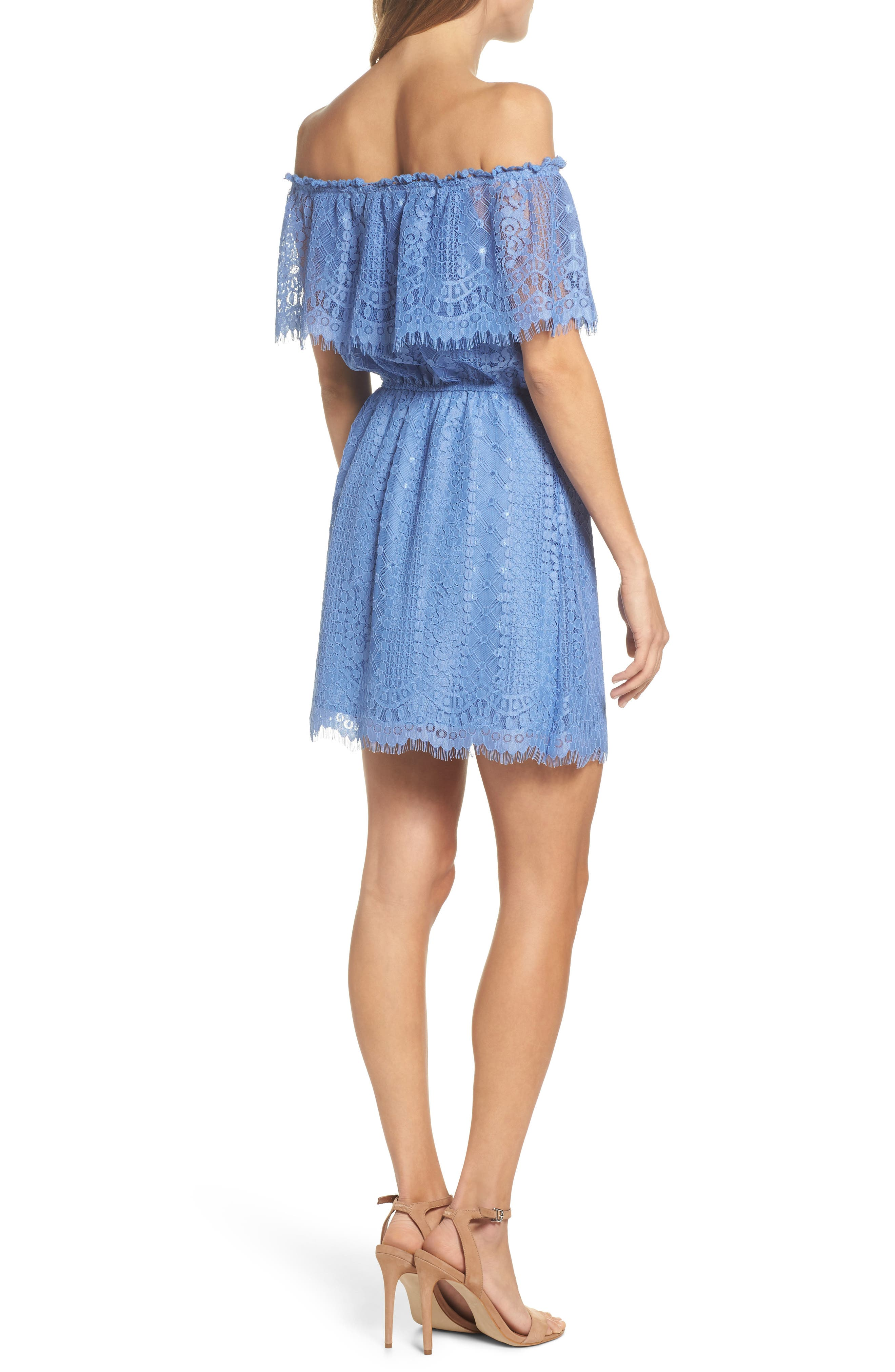 Zinnia Lace Ruffle Off the Shoulder Dress,                             Alternate thumbnail 2, color,                             French Blue