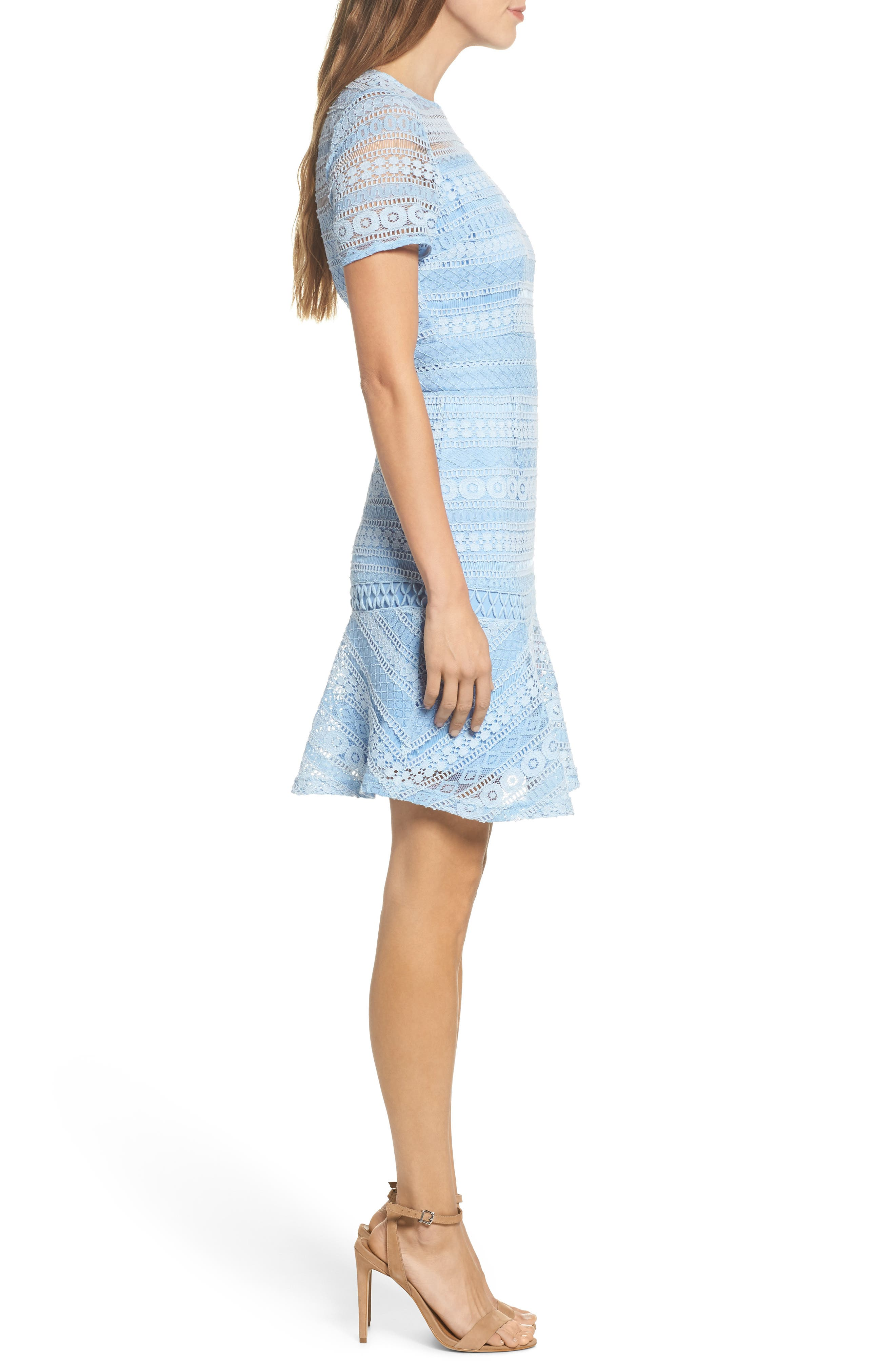 Lace Dress,                             Alternate thumbnail 3, color,                             Blue French