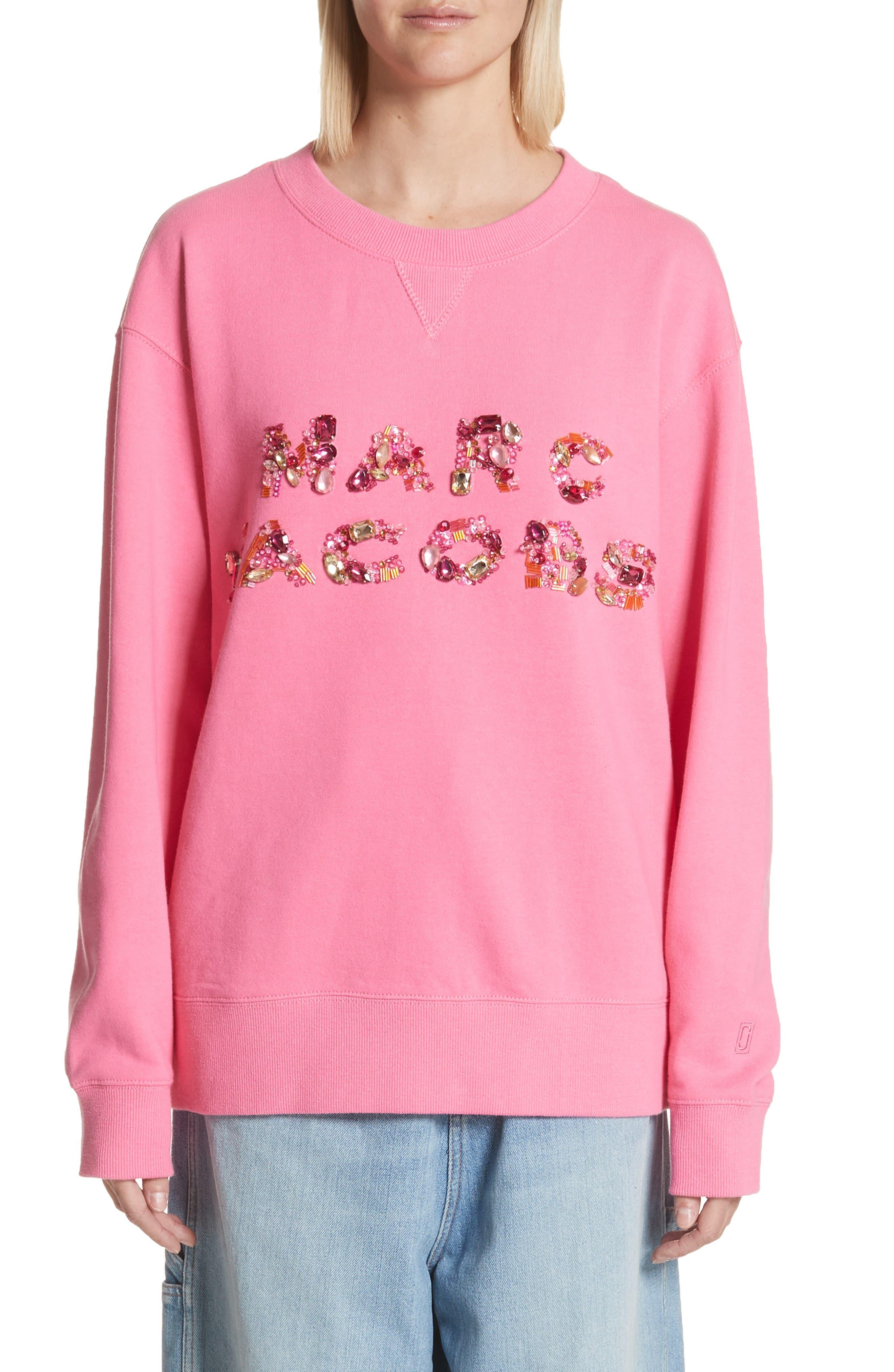 Embellished Sweatshirt,                         Main,                         color, Pink