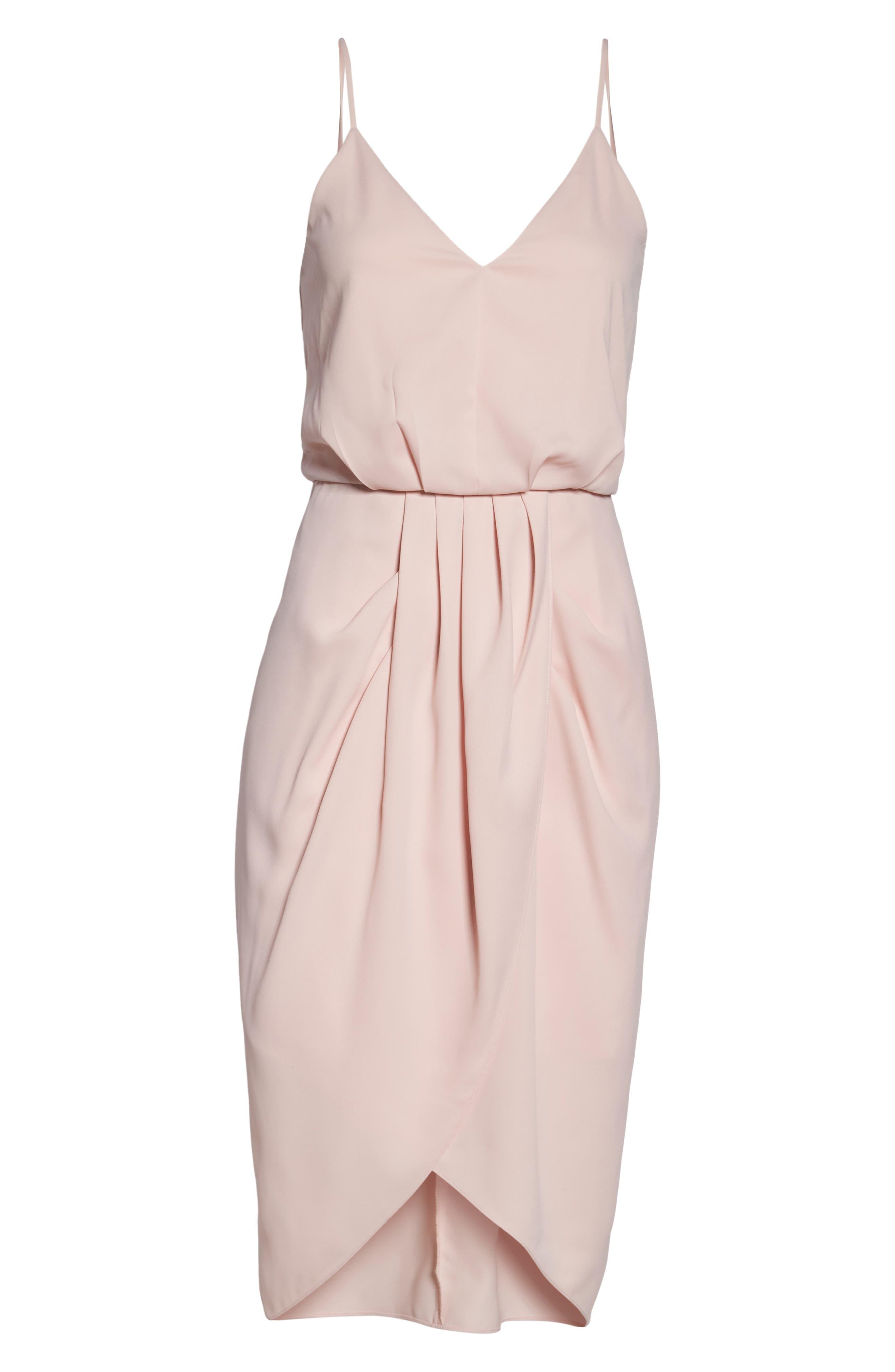 Print Faux Wrap Dress,                             Alternate thumbnail 6, color,                             Pink Peach