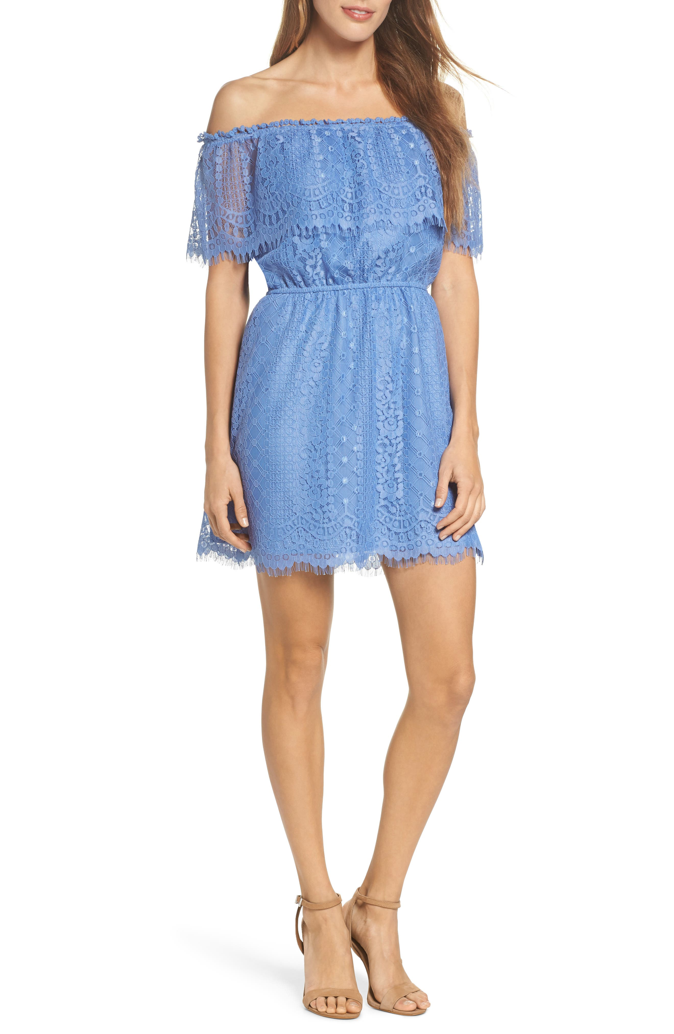Zinnia Lace Ruffle Off the Shoulder Dress,                             Main thumbnail 1, color,                             French Blue
