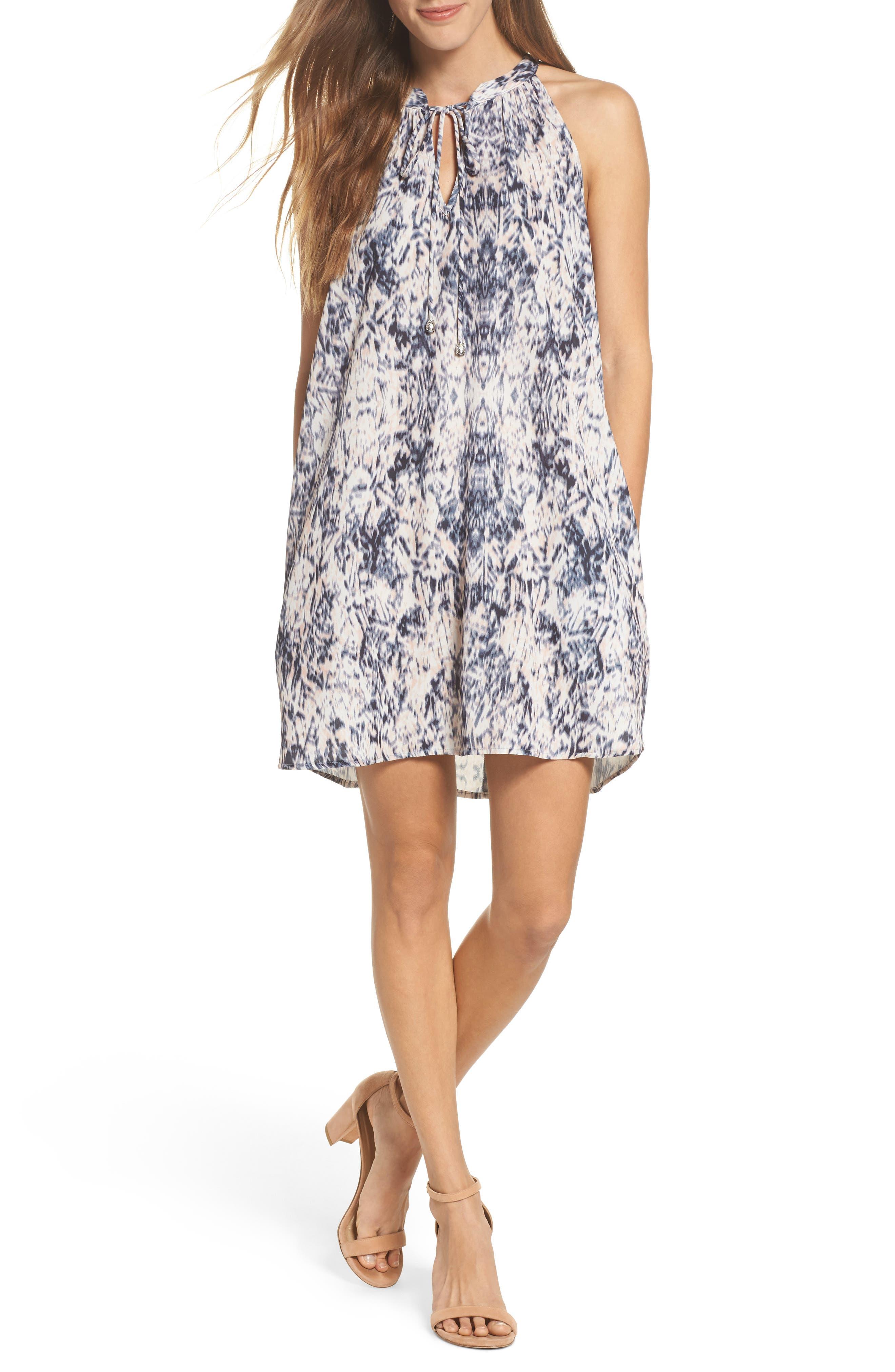 Tie Neck Sleeveless Dress,                             Main thumbnail 1, color,                             Blur Ikat