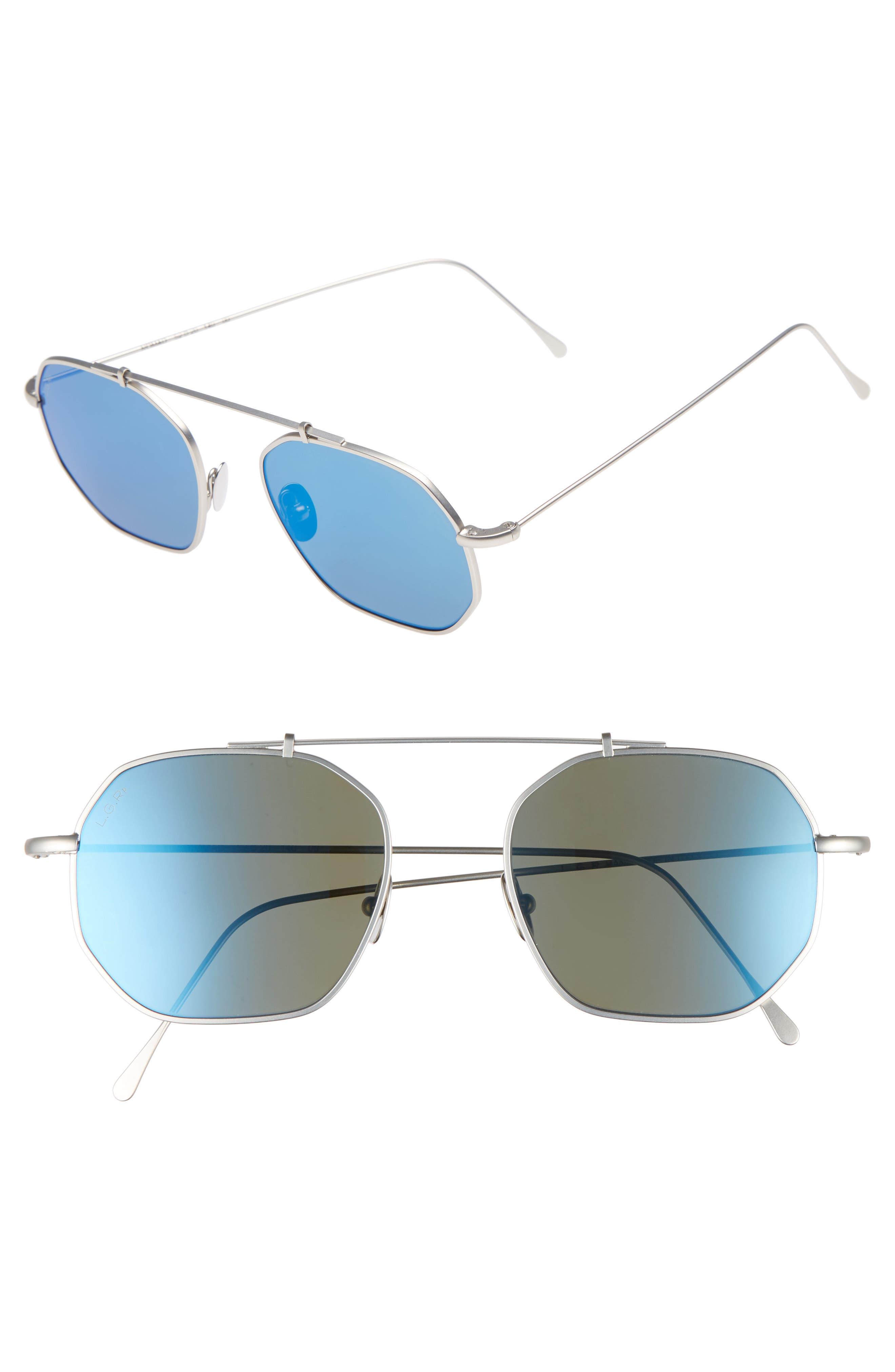 Nomad 52mm Polarized Sunglasses,                             Main thumbnail 1, color,                             Silver Matte/ Blue Mirror