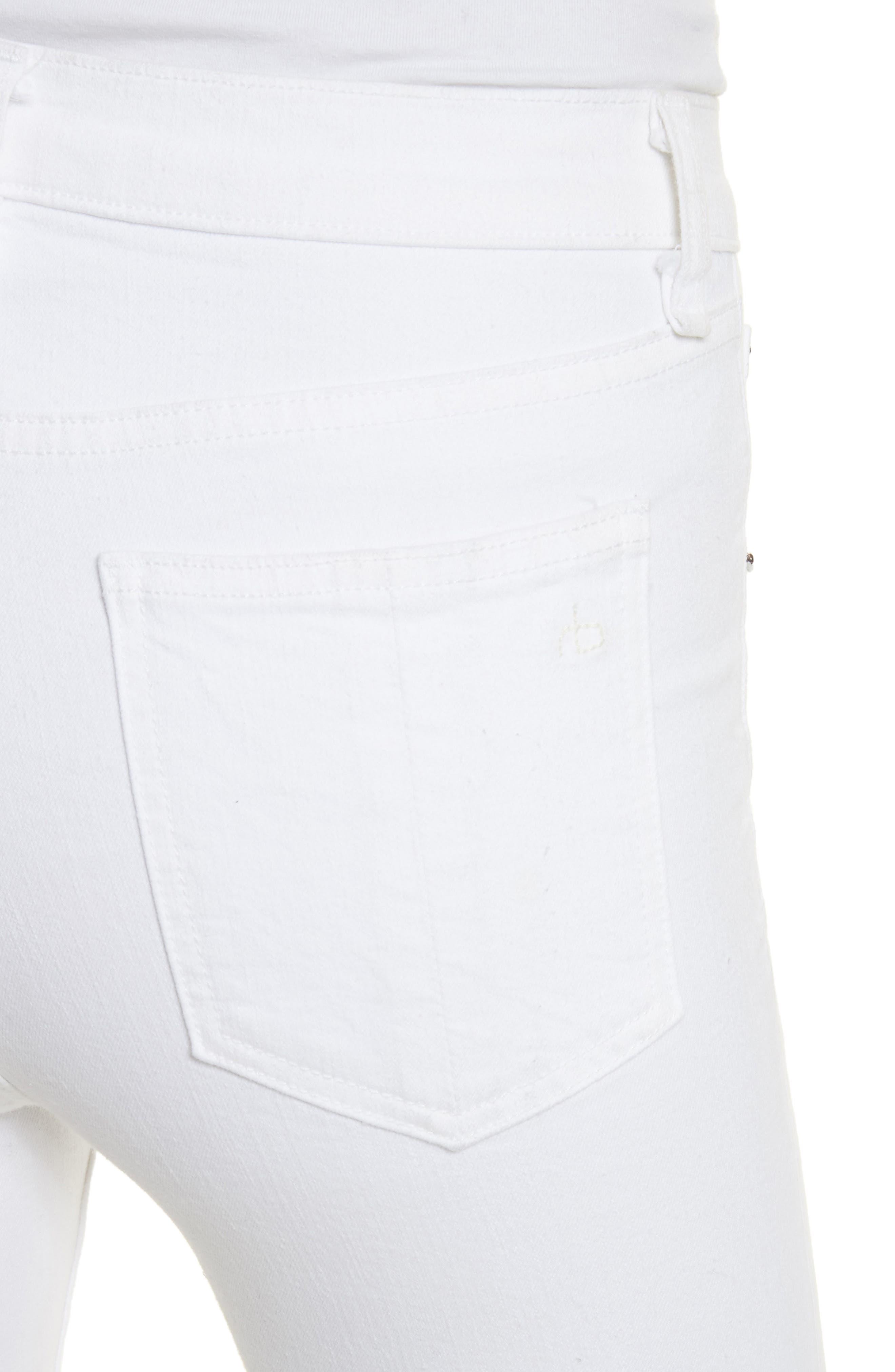 High Waist Ankle Skinny Jeans,                             Alternate thumbnail 4, color,                             White Manson