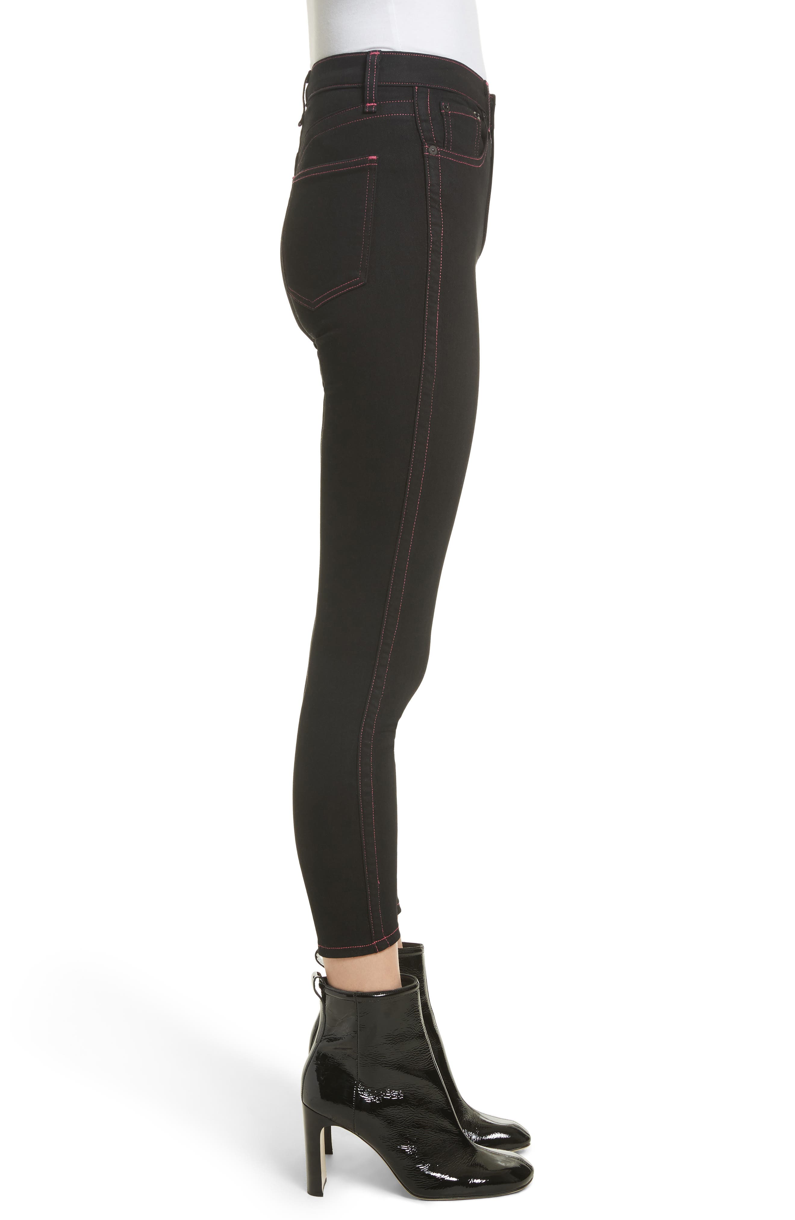 Miich High Rise Crop Skinny Jeans,                             Alternate thumbnail 3, color,                             Black Stitch