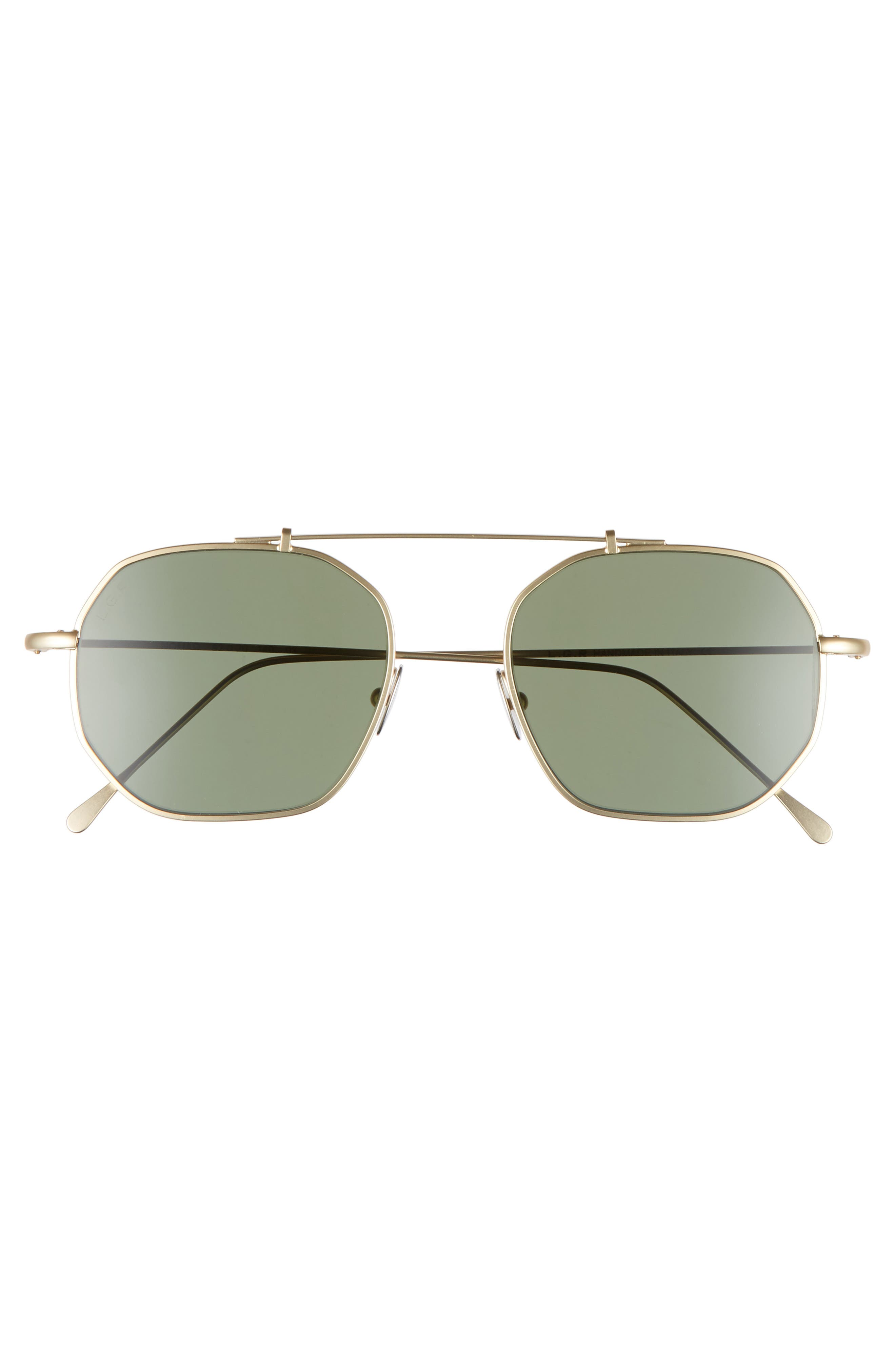 Nomad 52mm Sunglasses,                             Alternate thumbnail 2, color,                             Gold Matte/ Green