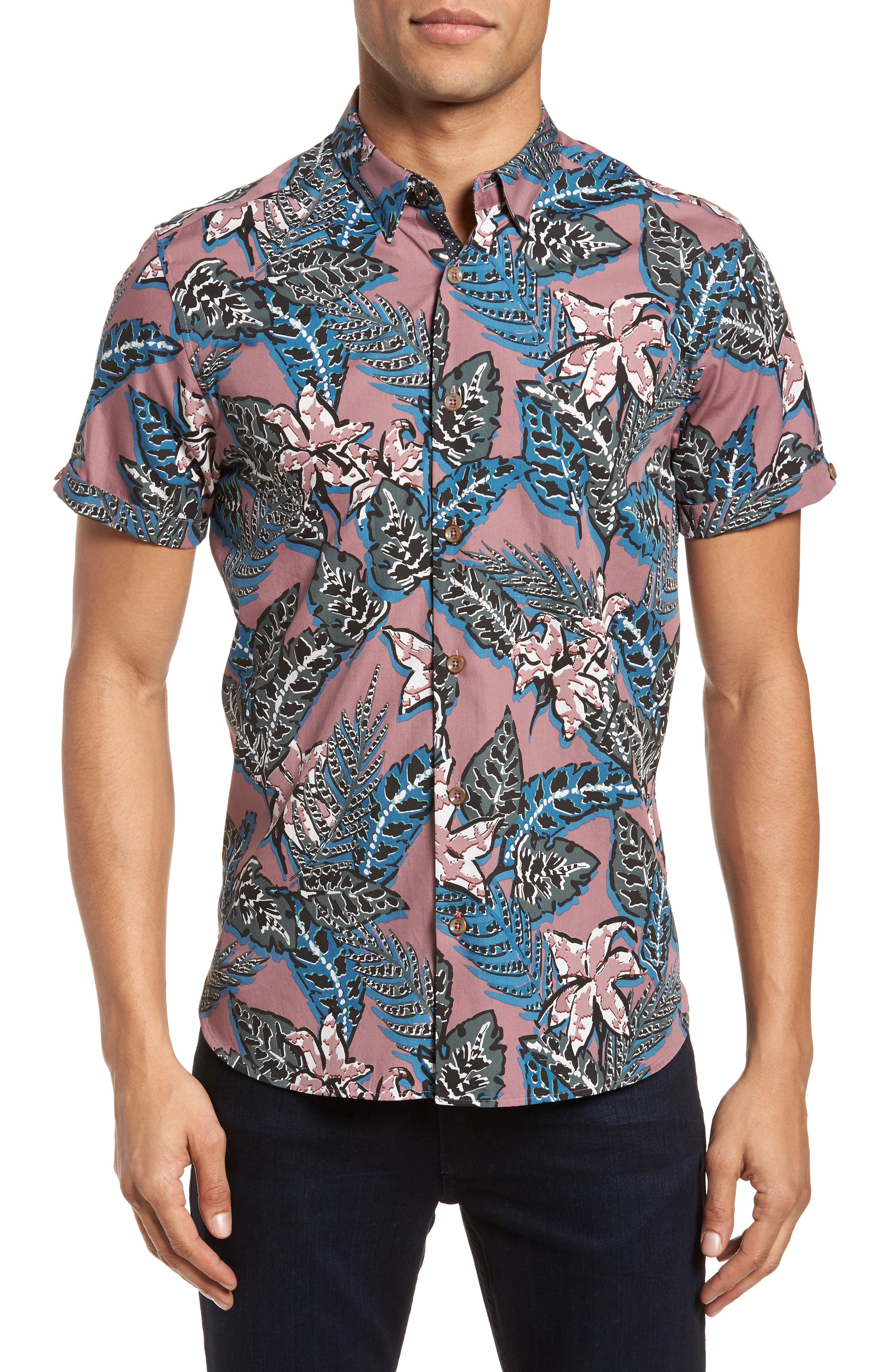 Clbtrop Trim Fit Tropical Woven Shirt,                             Main thumbnail 1, color,                             Pink