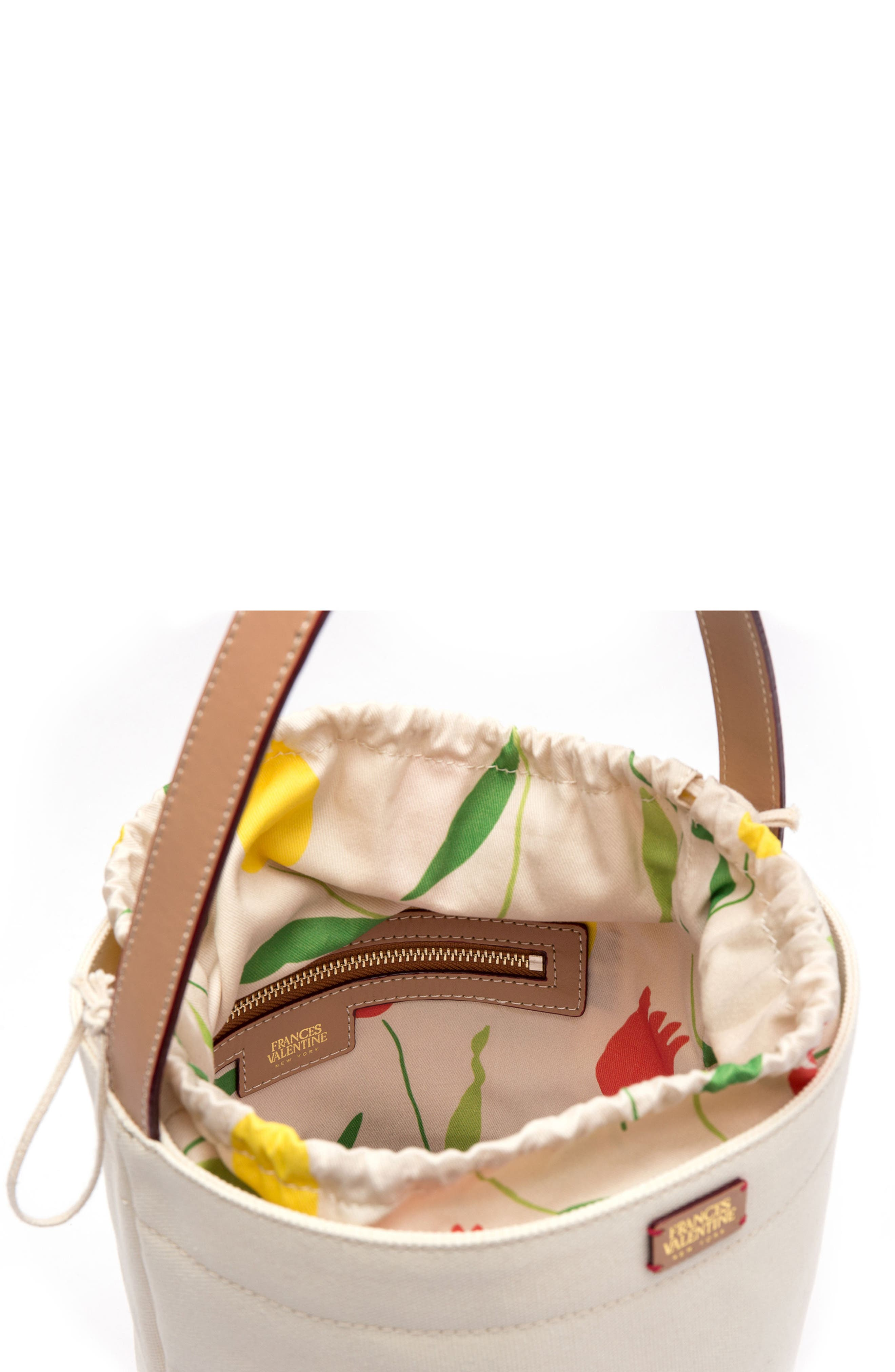 Large Canvas Bucket Bag,                             Alternate thumbnail 3, color,                             Natural/ Red