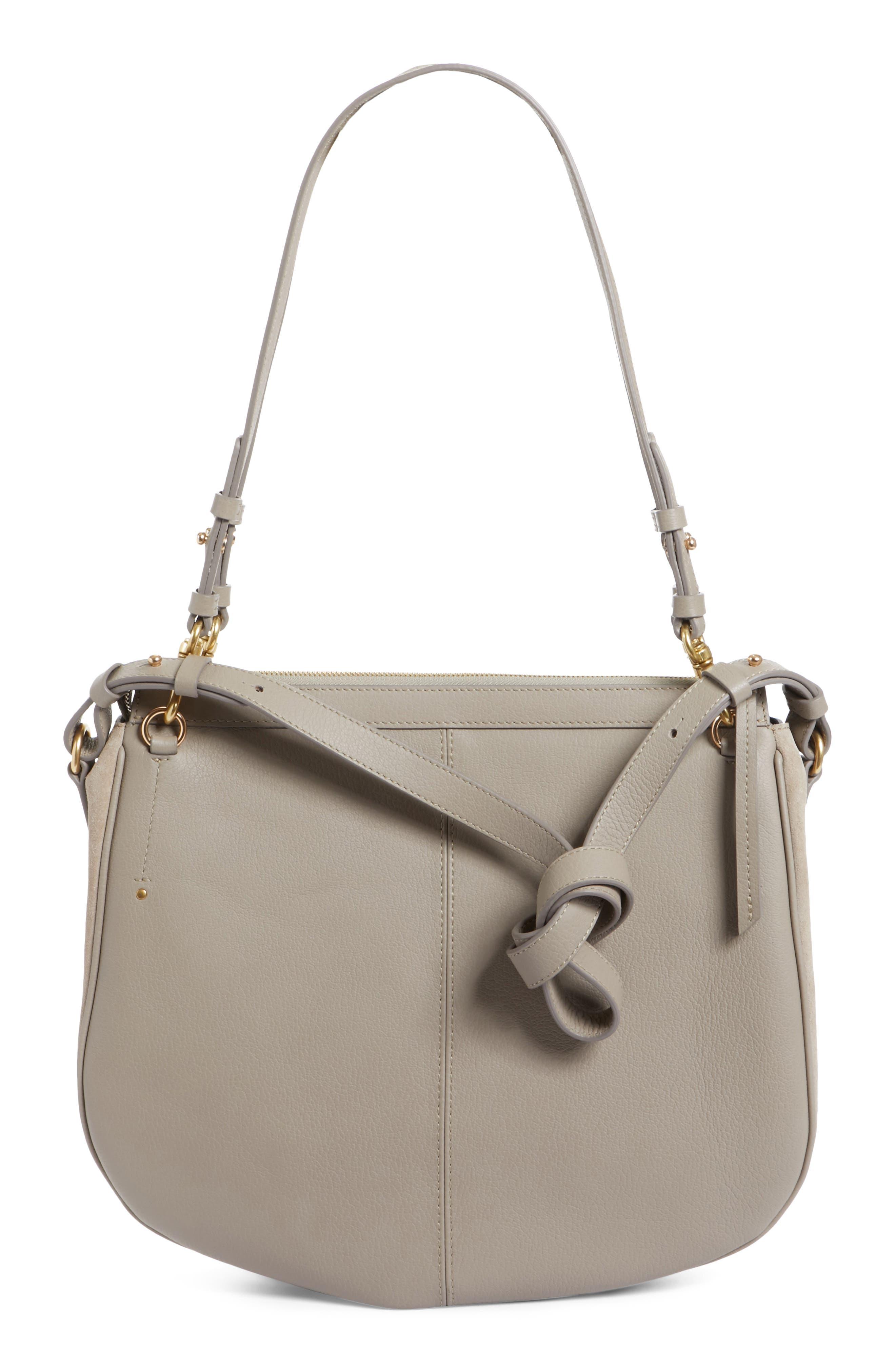 Hana Leather Shoulder Bag,                             Alternate thumbnail 3, color,                             Motty Grey