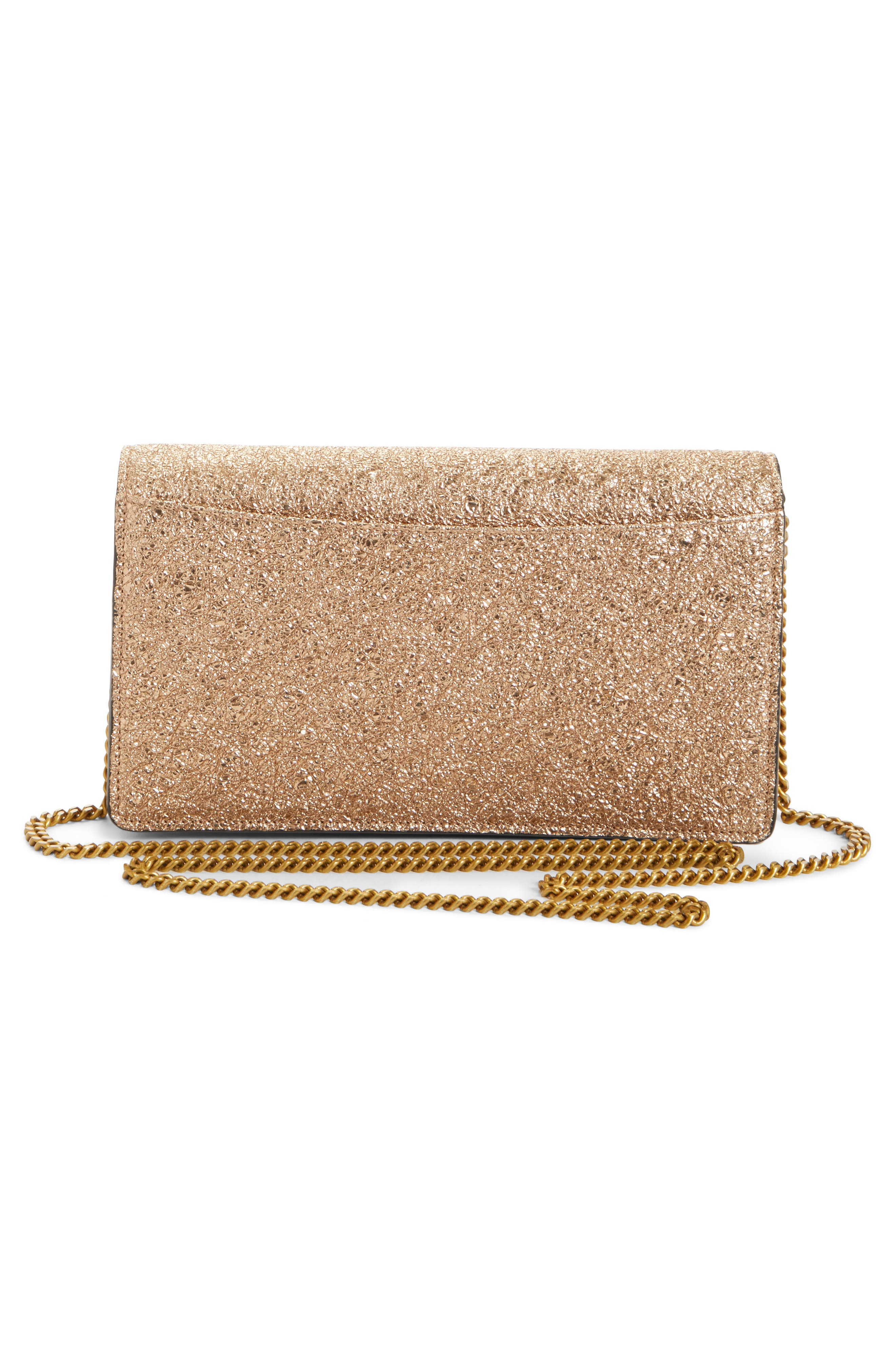 Polina Metallic Leather Crossbody Clutch,                             Alternate thumbnail 3, color,                             Sandy Brown