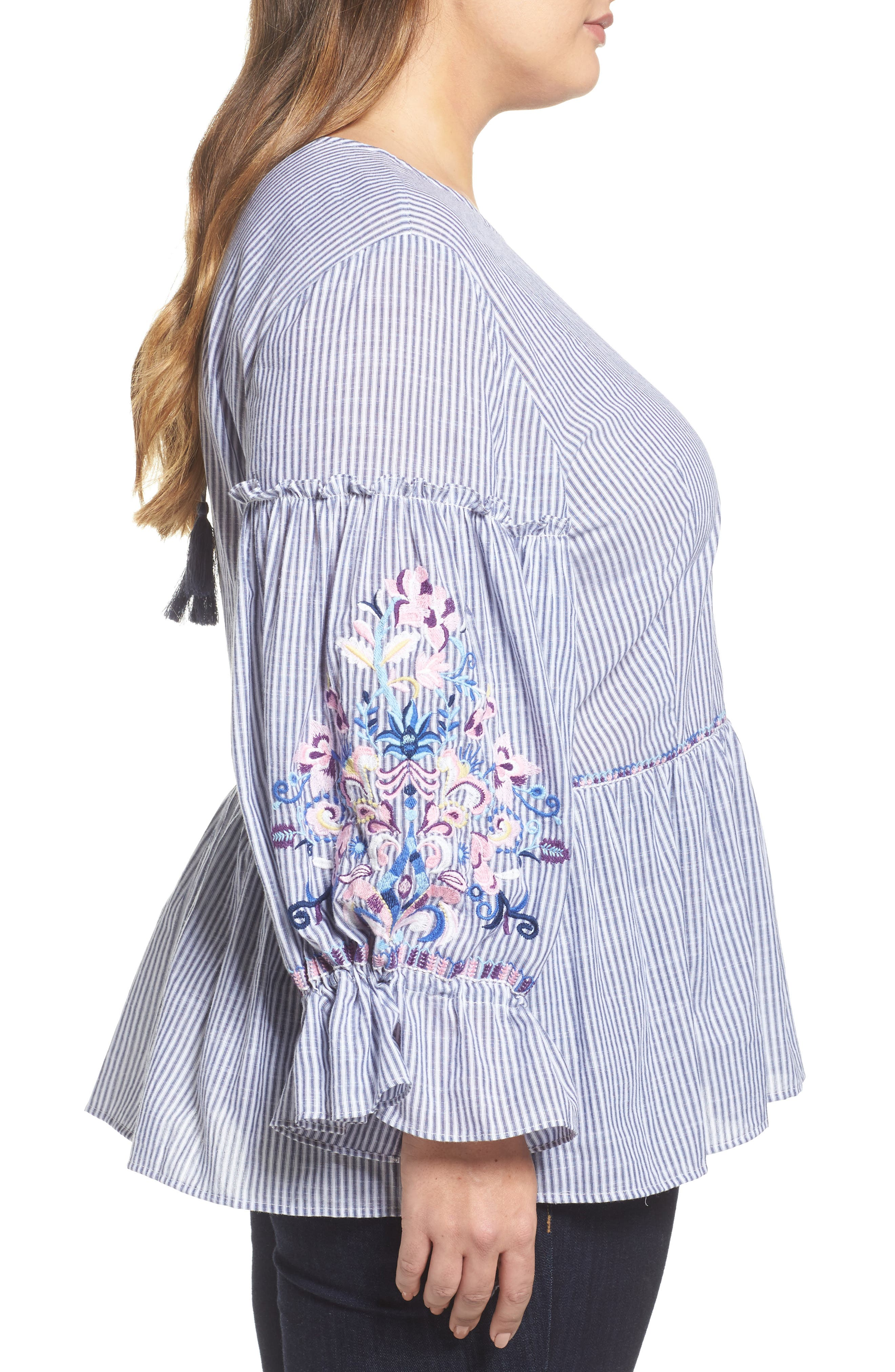 Embroidered Blouse,                             Alternate thumbnail 3, color,                             Blue-White