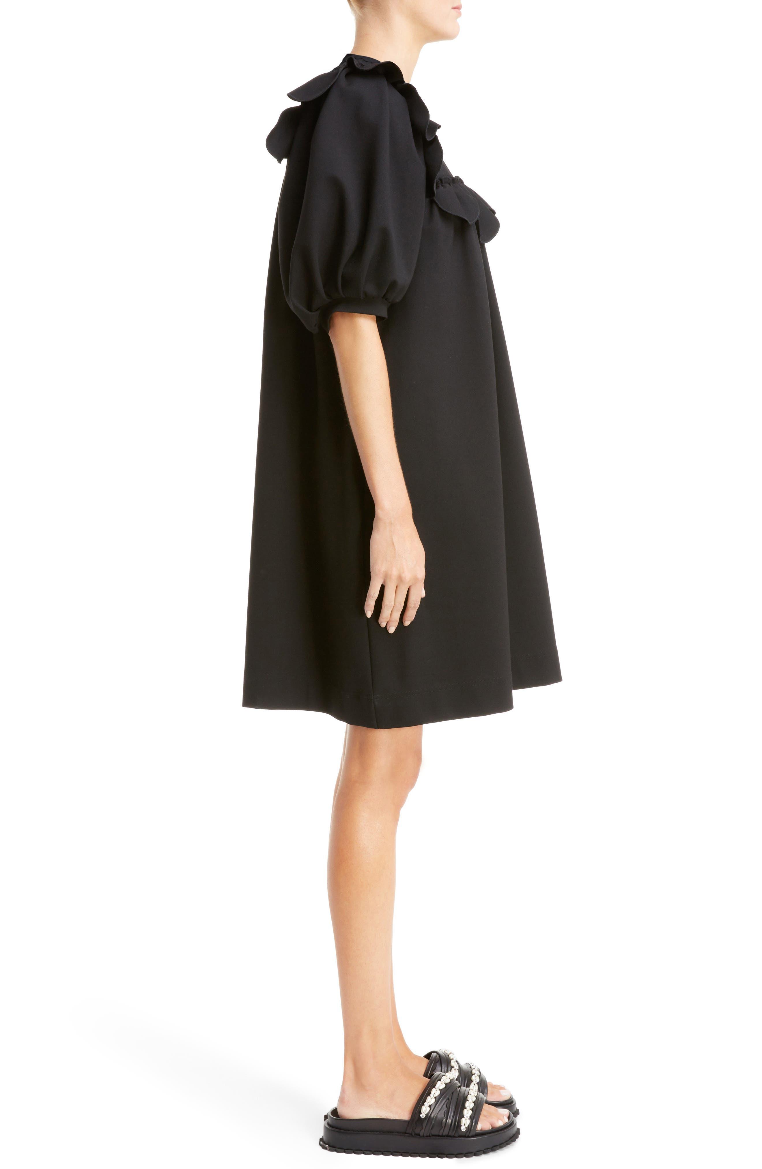 Ruffle Bib Dress,                             Alternate thumbnail 3, color,                             Black