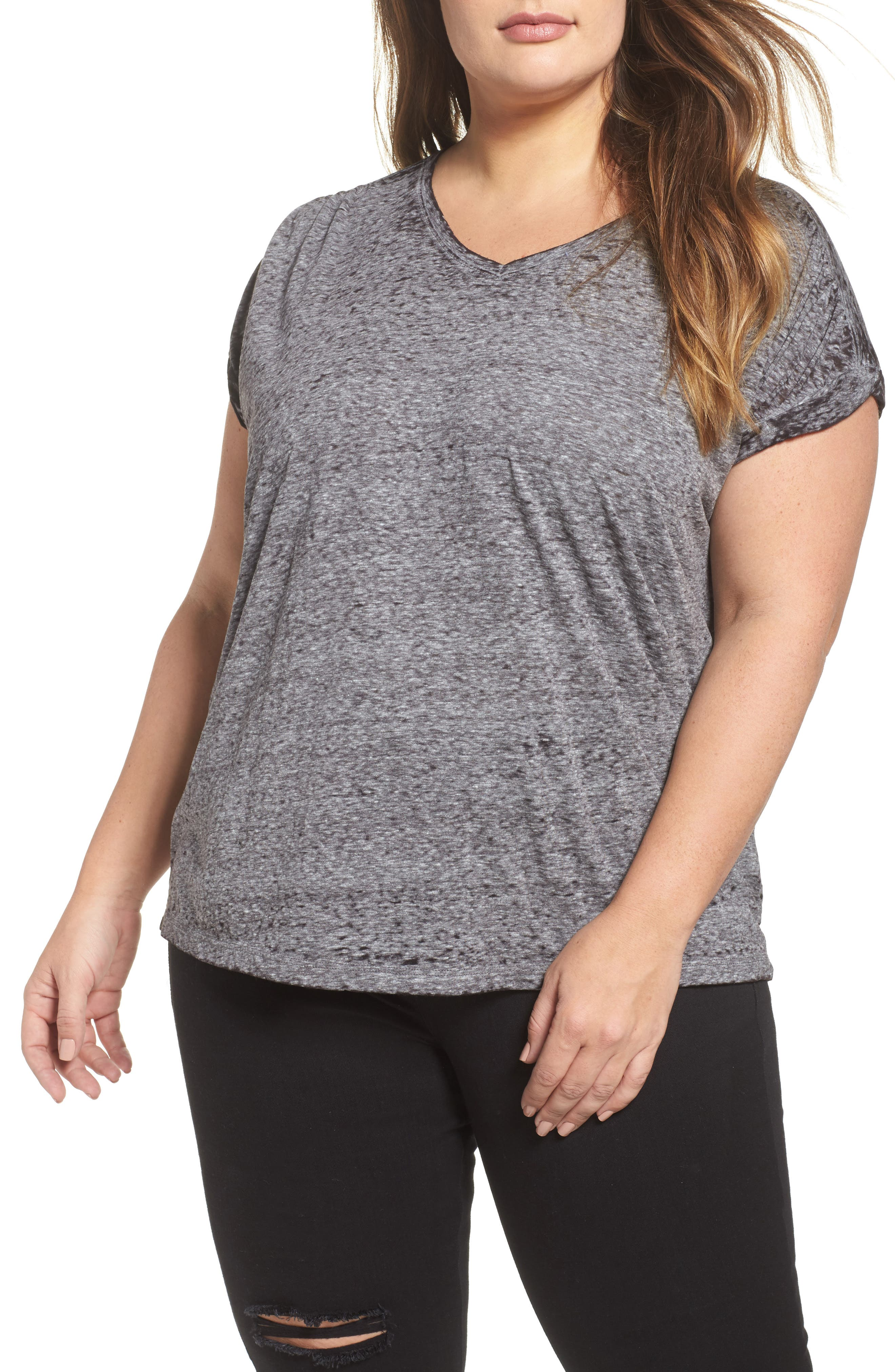 Shirred Back Burnout Tee,                         Main,                         color, Black