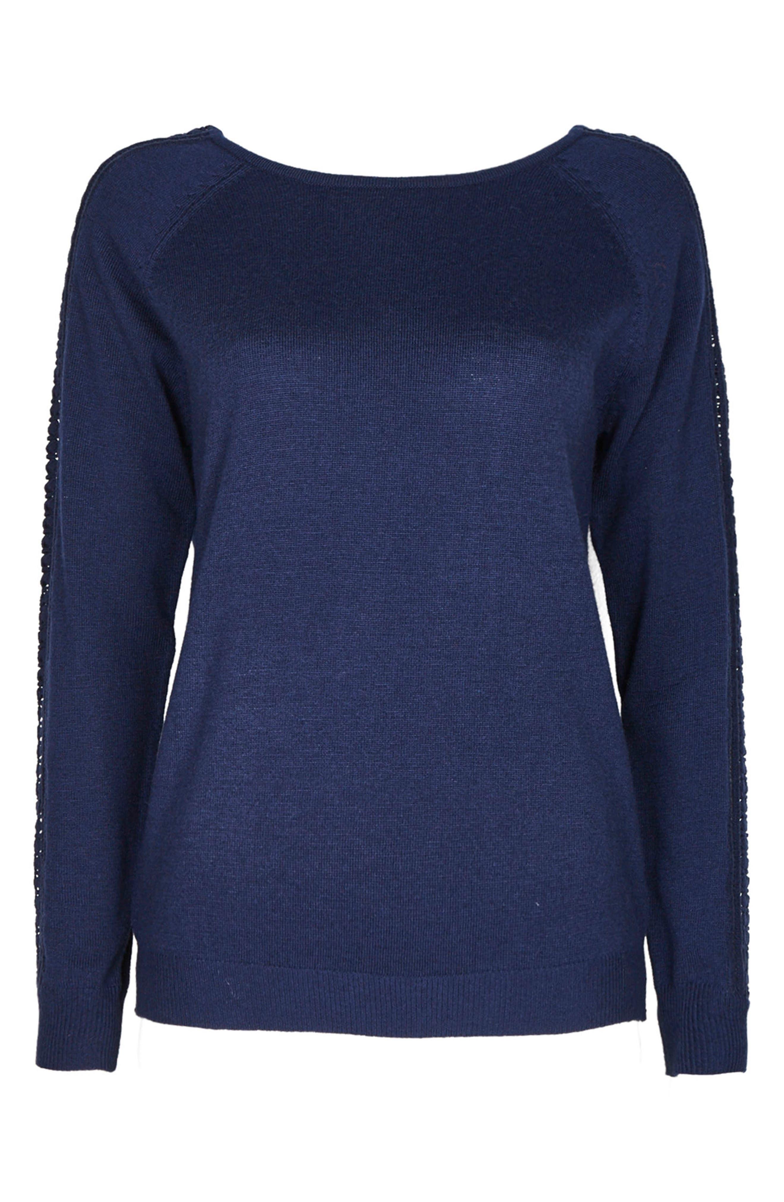 Lace Trim Sweater,                             Main thumbnail 1, color,                             Navy
