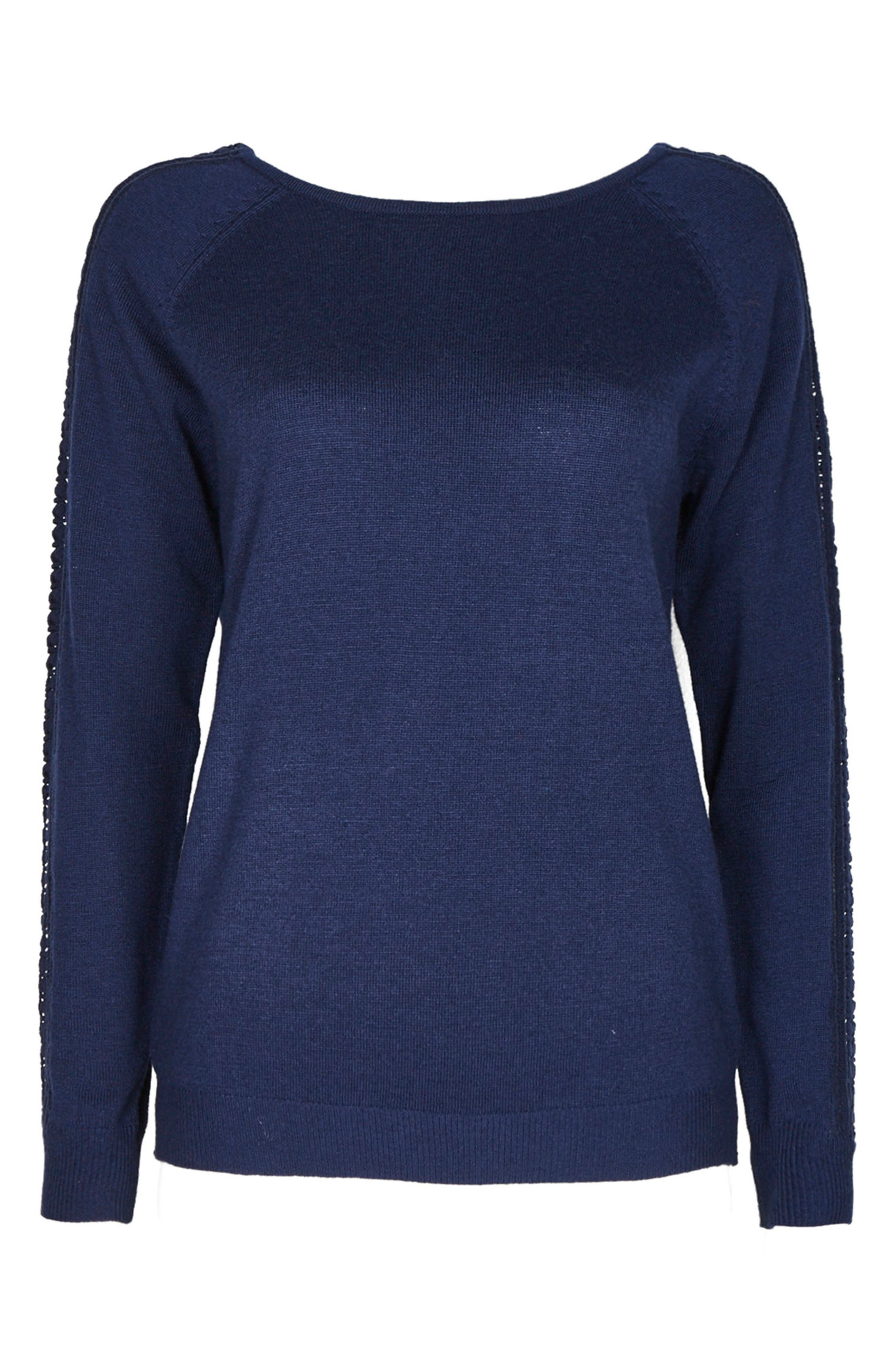 Lace Trim Sweater,                         Main,                         color, Navy