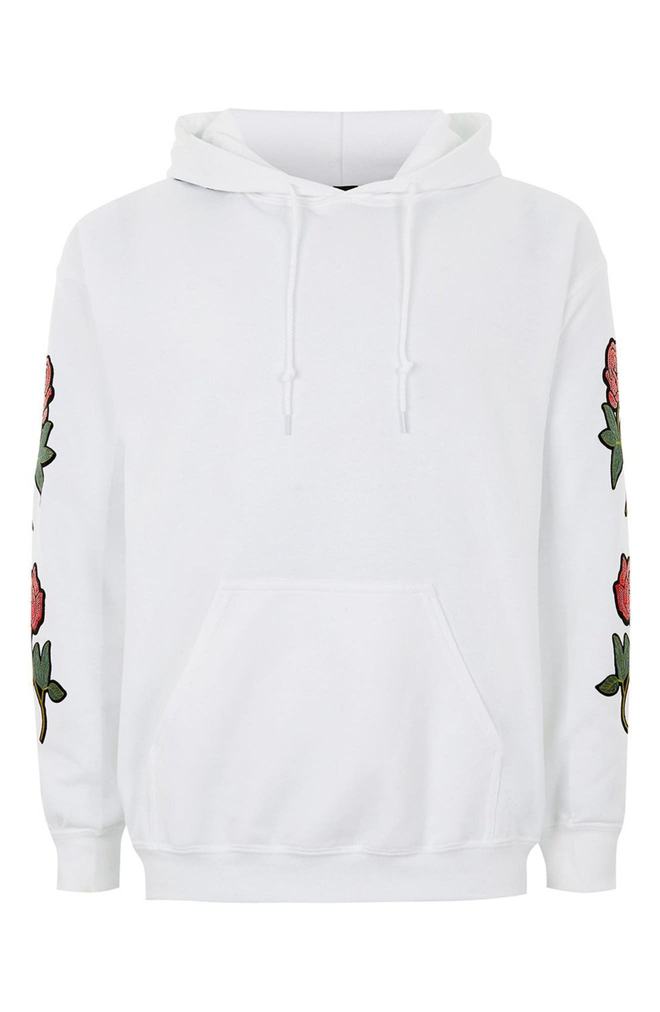 Embroidered Appliqué Hoodie,                             Alternate thumbnail 4, color,                             White Multi